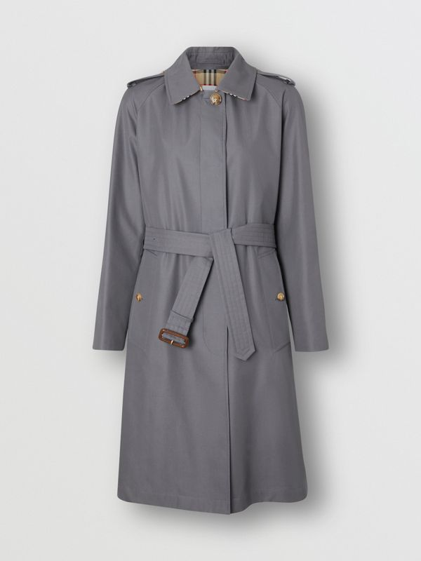 Cotton Gabardine Belted Car Coat in Mid Grey - Women | Burberry - cell image 3
