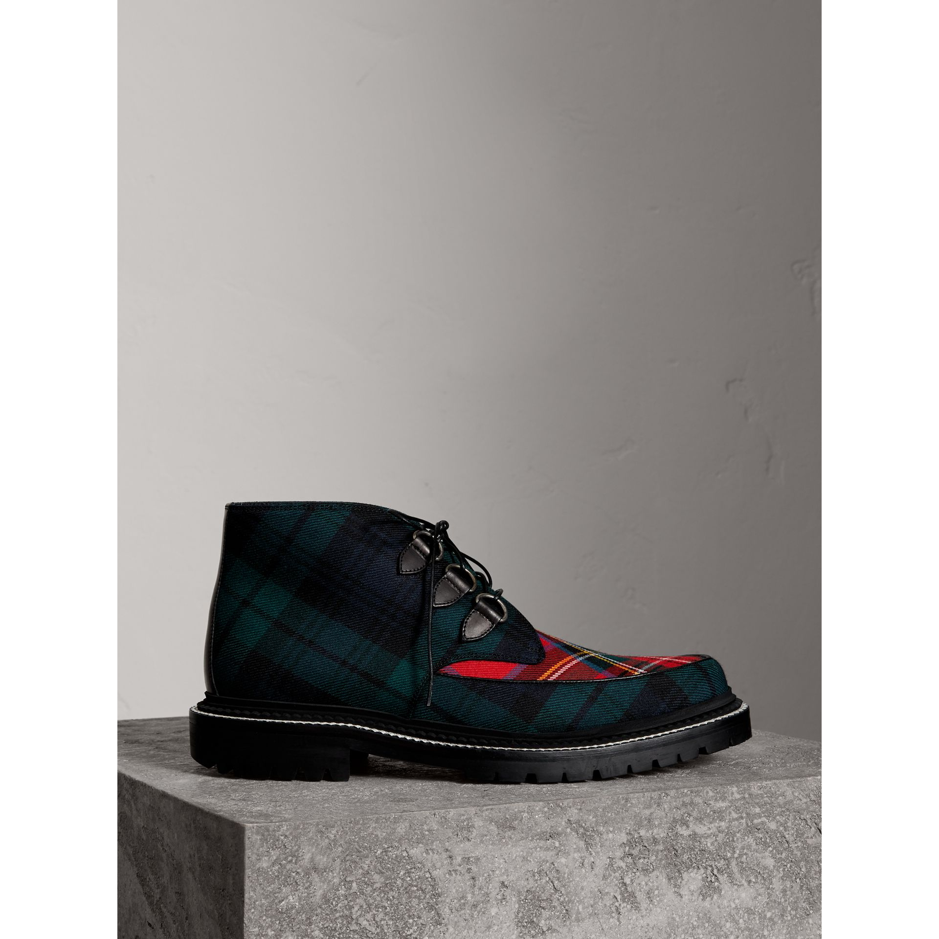 Tartan Wool and Leather Ankle Boots in Black - Men | Burberry - gallery image 0