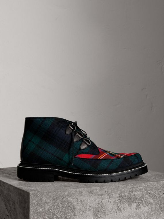 Tartan Wool and Leather Ankle Boots in Black