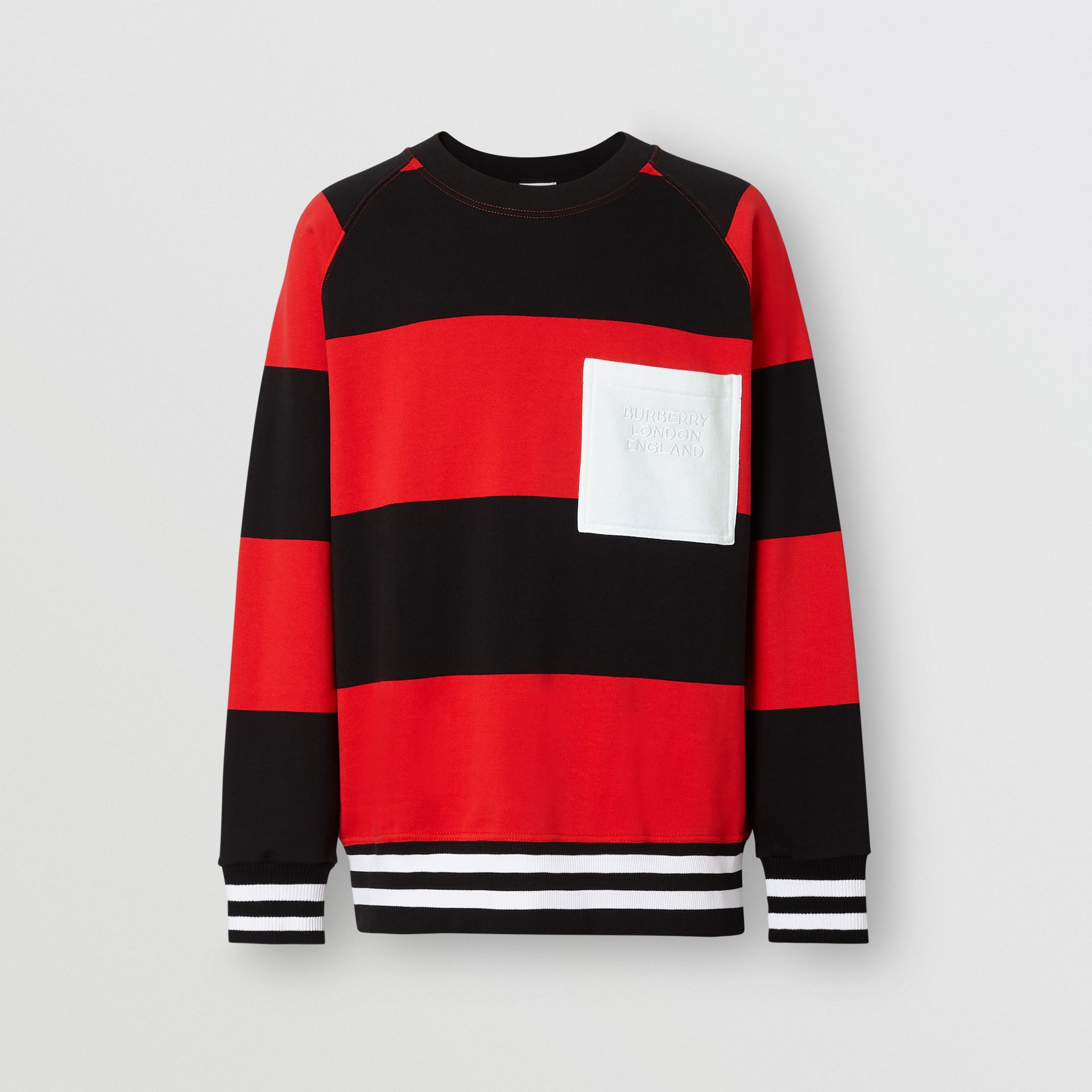 Rugby Stripe Cotton Sweatshirt in Bright Red - Men | Burberry - gallery image 3
