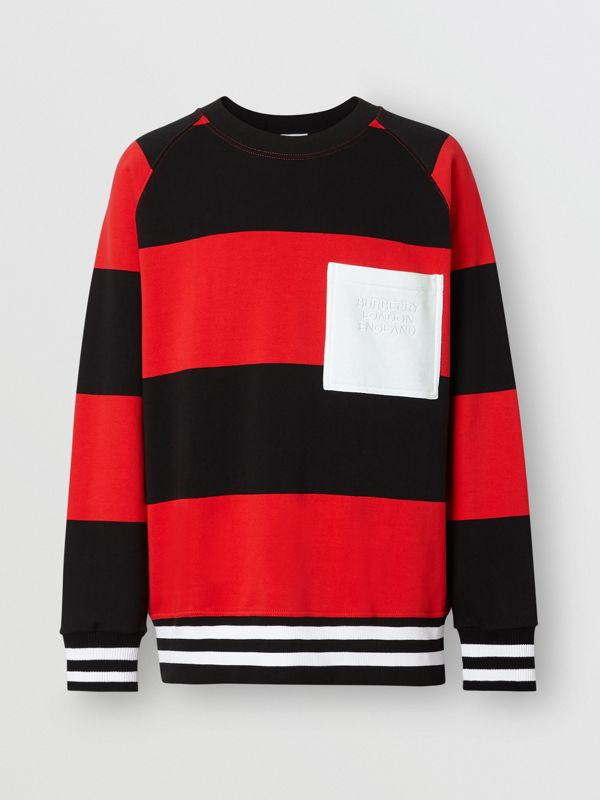 Rugby Stripe Cotton Sweatshirt in Bright Red - Men | Burberry - cell image 3