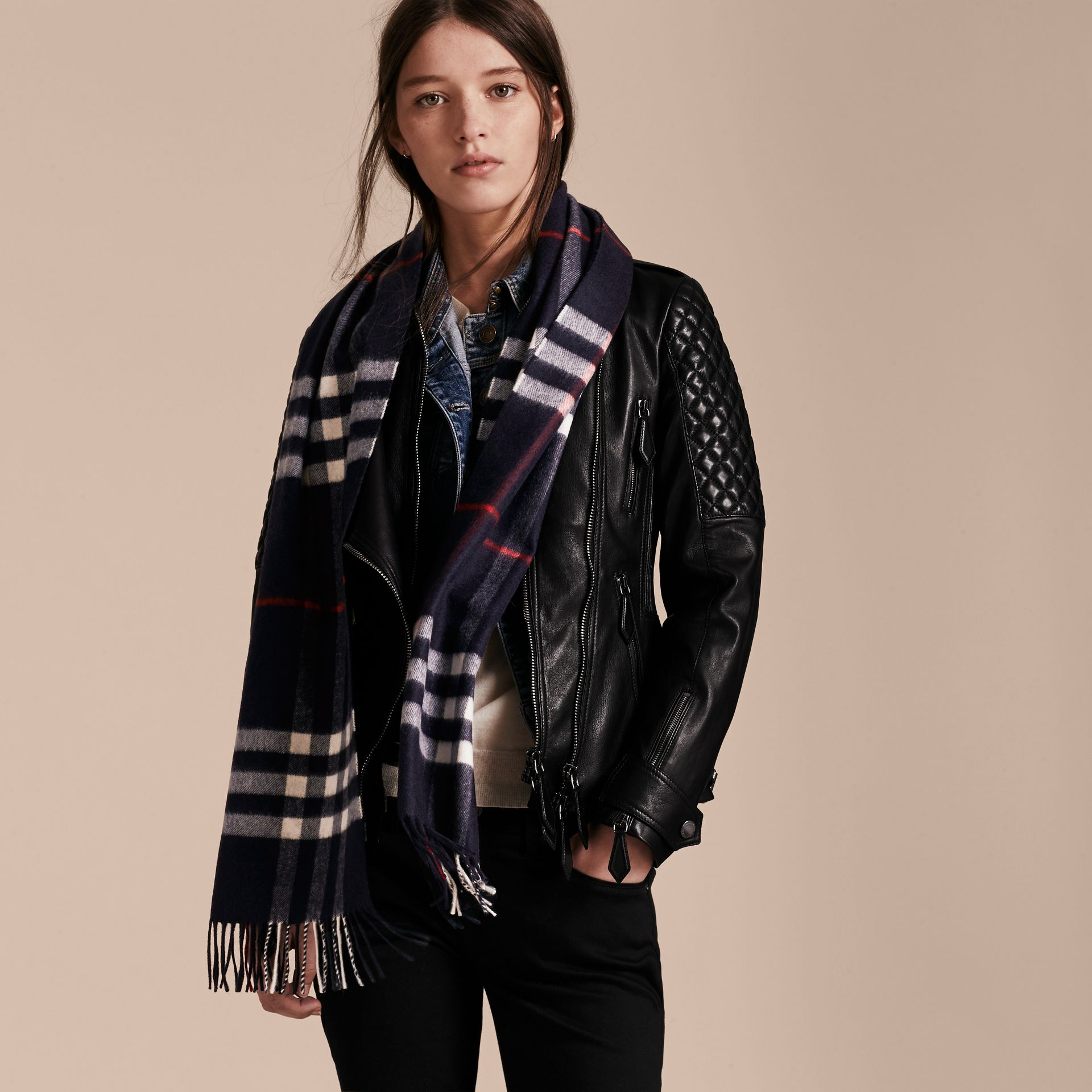 The Classic Cashmere Scarf in Check Navy - gallery image 3