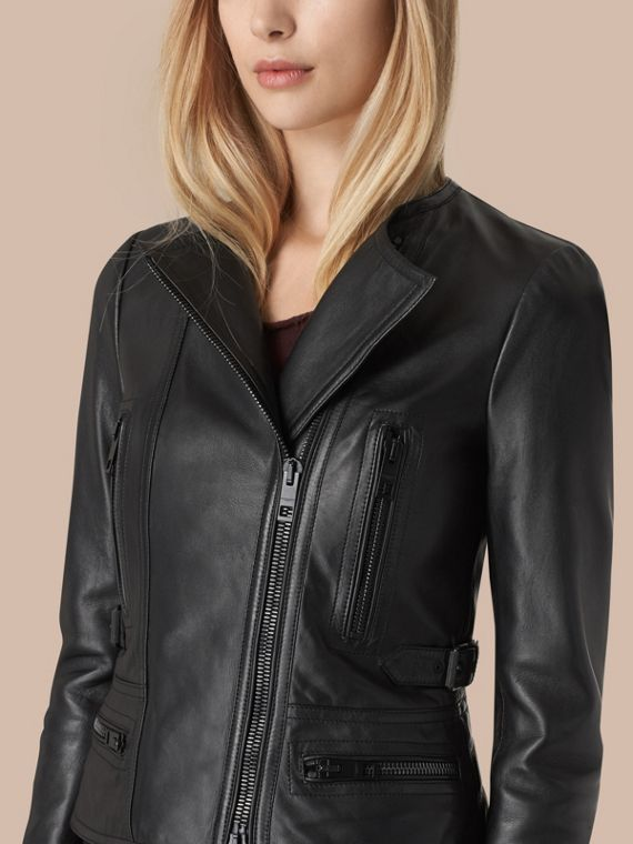 Black Nappa Leather Biker Jacket - cell image 2