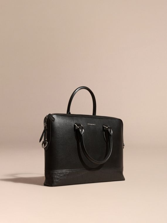 Sac The Barrow fin en cuir London et alligator Noir