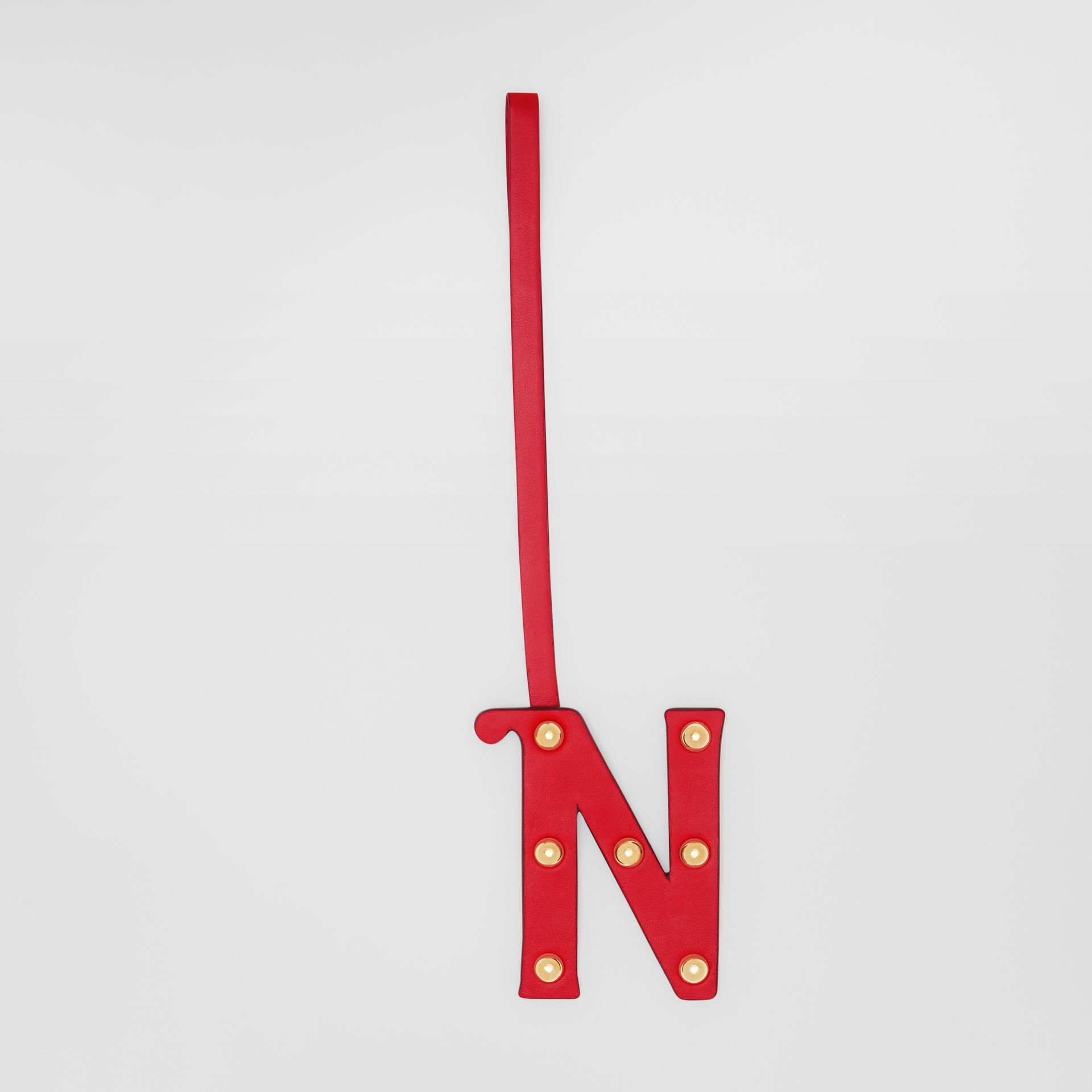 'N' Studded Leather Alphabet Charm in Red/light Gold | Burberry - gallery image 0