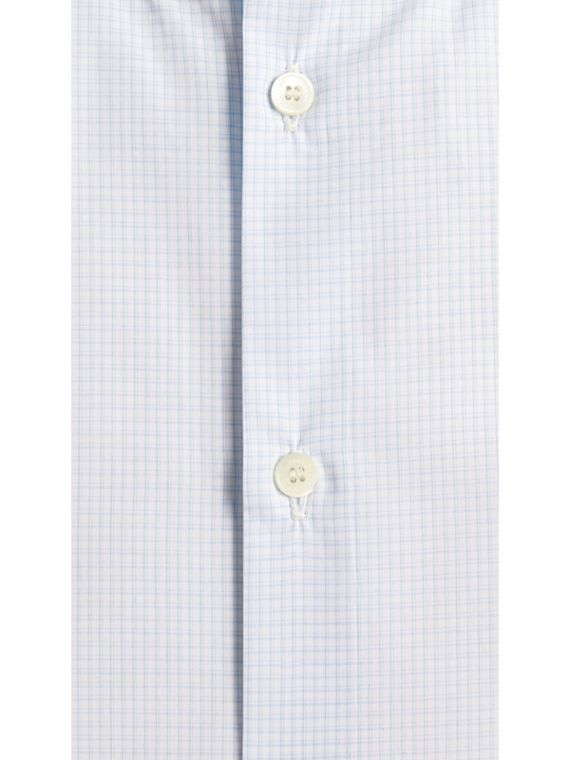 Modern Fit Button-down Collar Micro Check Cotton Shirt in City Blue - cell image 3