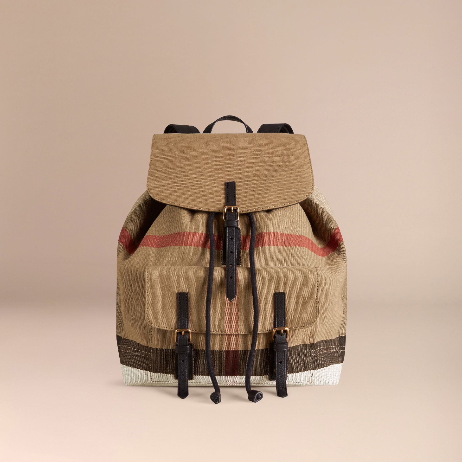 Black Canvas Check Backpack - gallery image 7