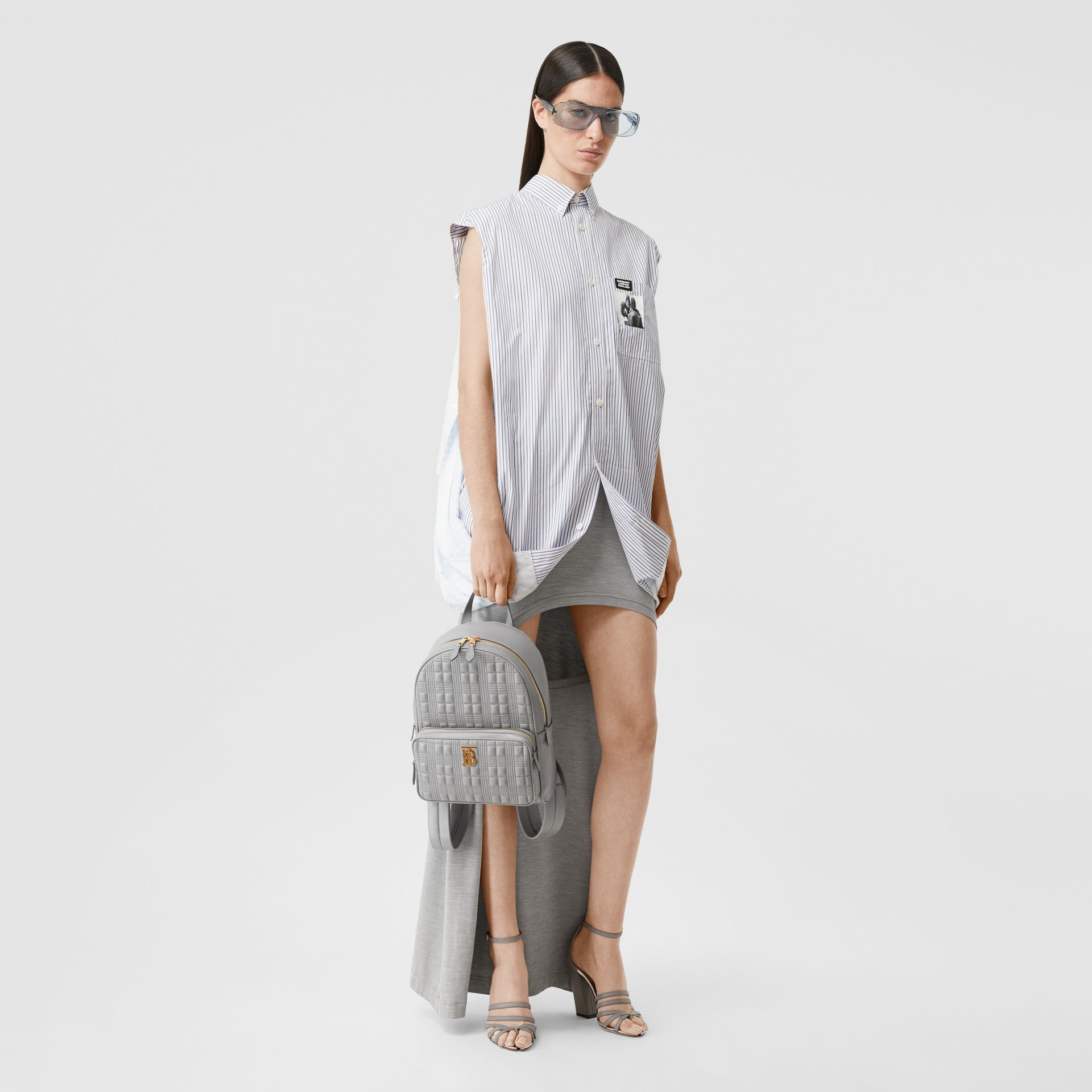Quilted Lambskin Backpack in Cloud Grey - Women | Burberry United States - gallery image 5