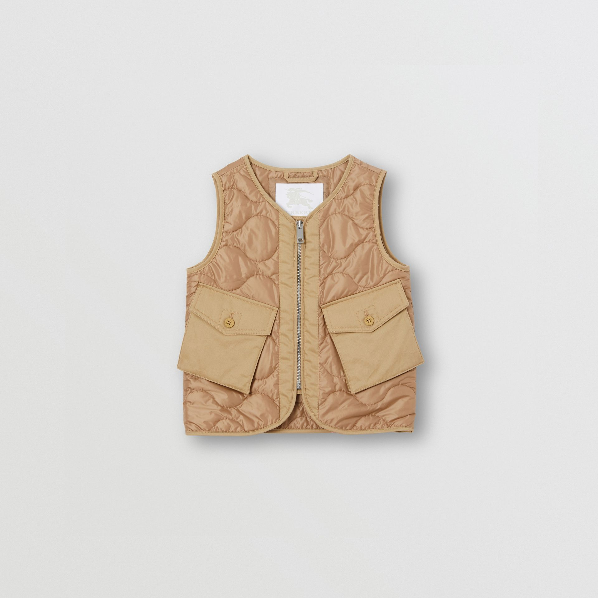 Embroidered Logo Showerproof Quilted Gilet in Honey | Burberry United Kingdom - gallery image 0