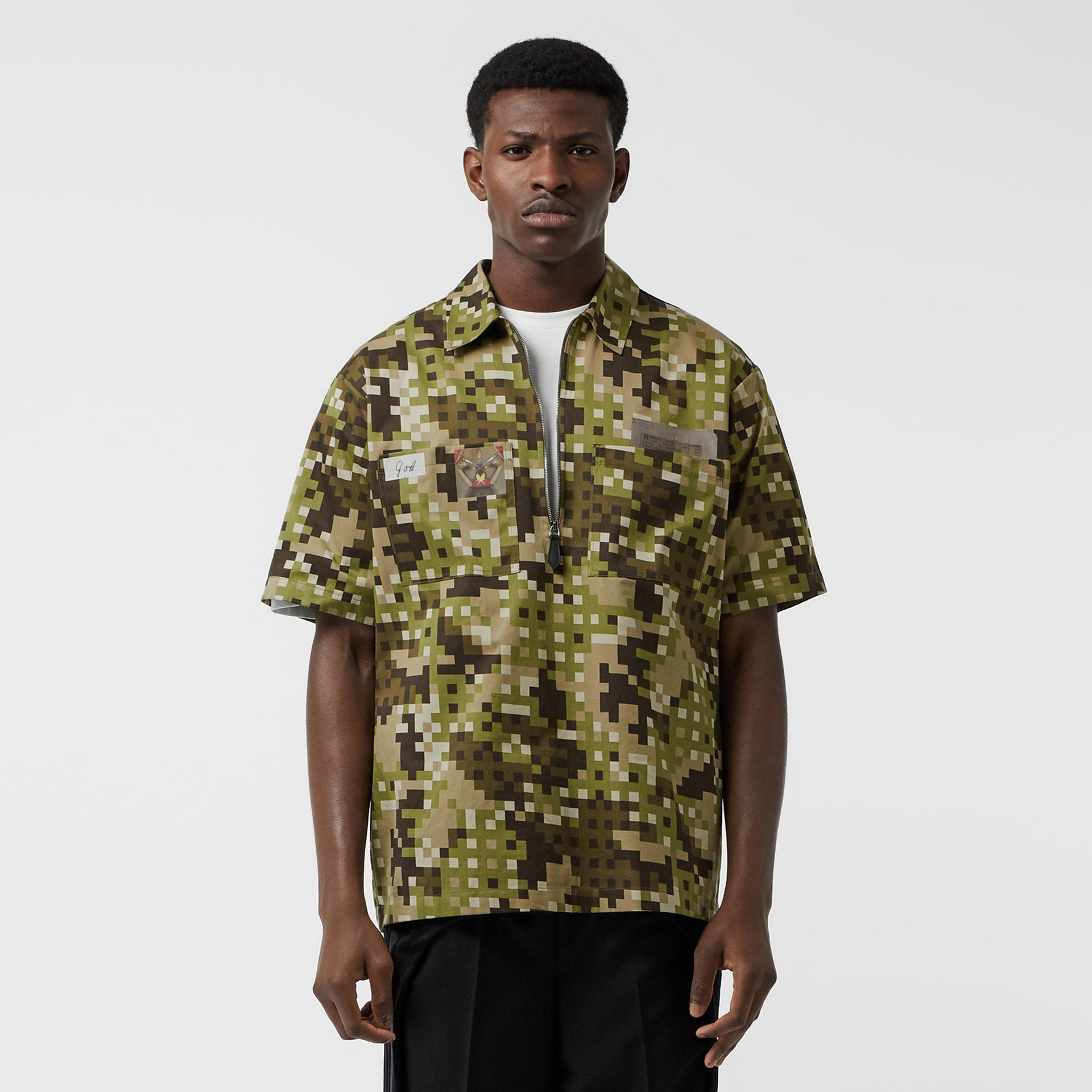 Short-sleeve Montage Print Cotton Shirt in Khaki | Burberry Australia - gallery image 6