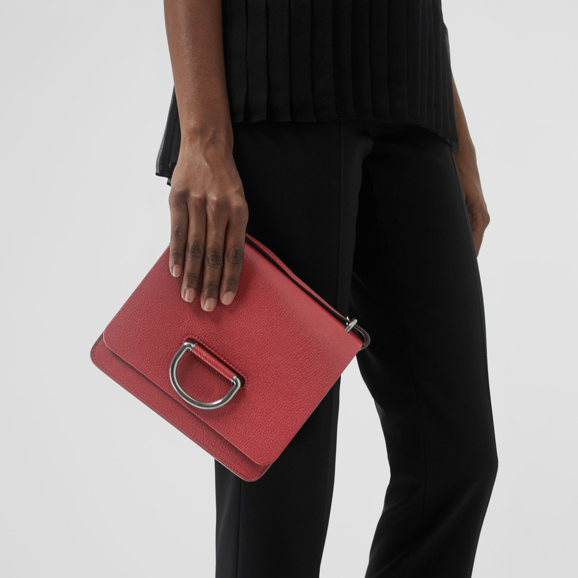 The Small Leather D-ring Bag in Crimson - Women | Burberry United Kingdom - gallery image 5