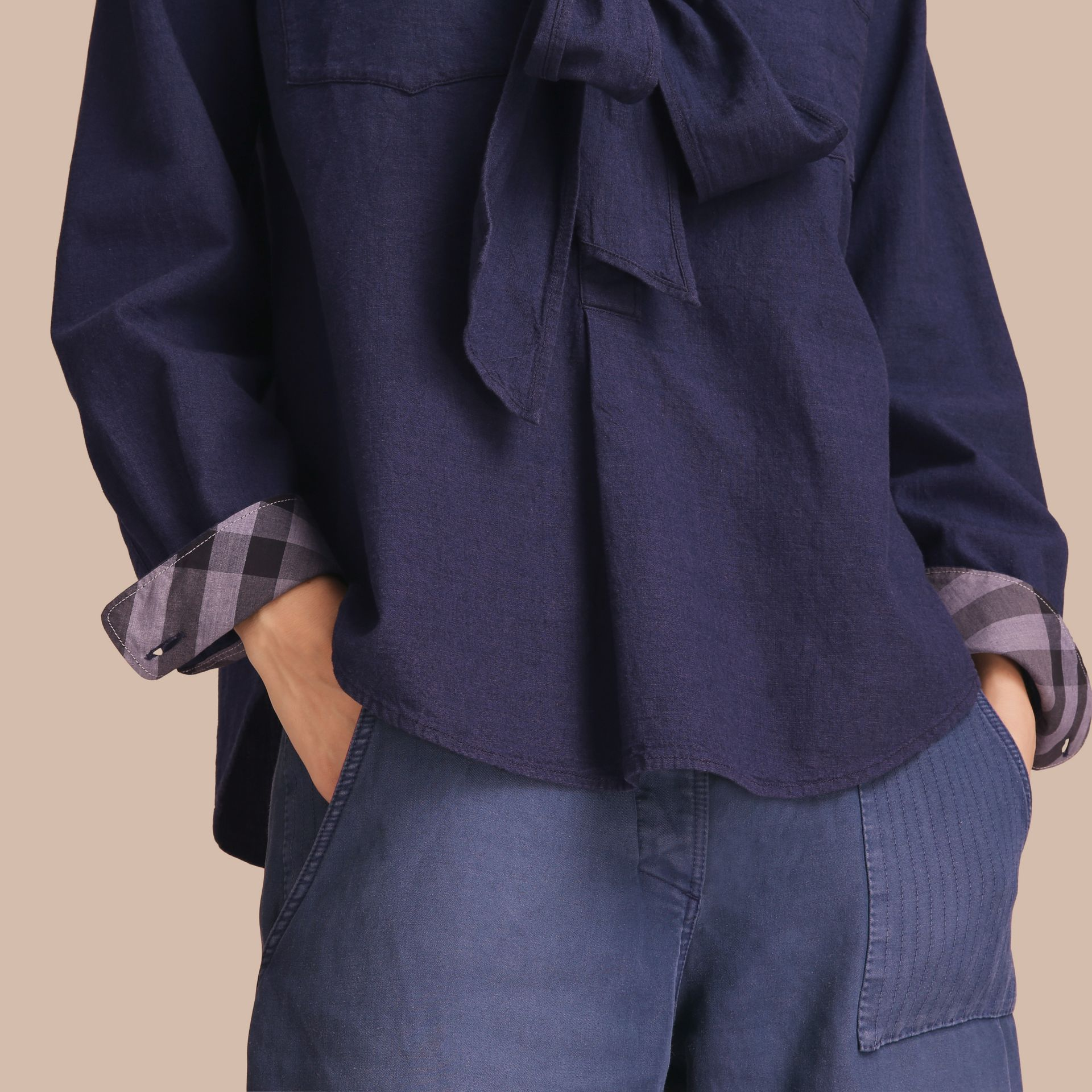 Neck Tie Cotton Chambray Shirt - gallery image 5