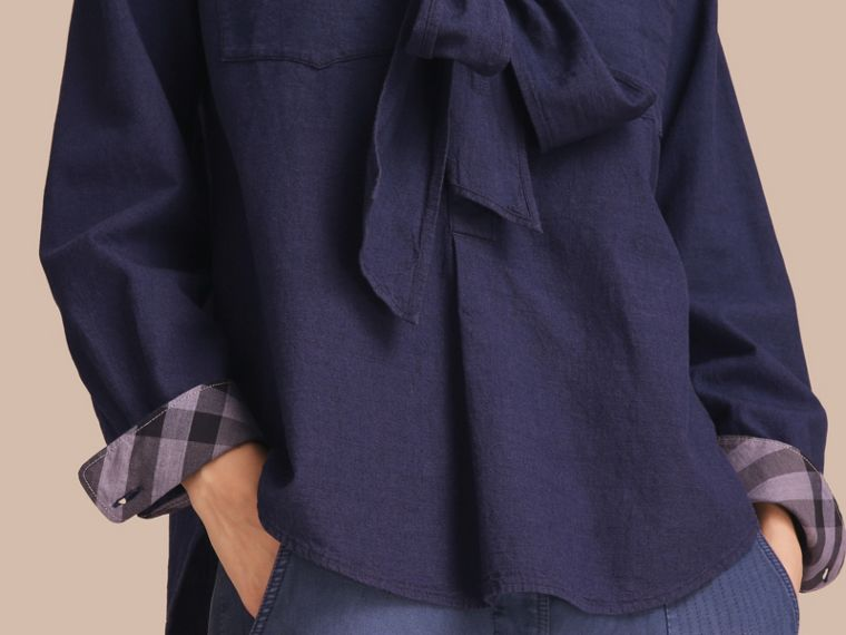 Neck Tie Cotton Chambray Shirt - cell image 4