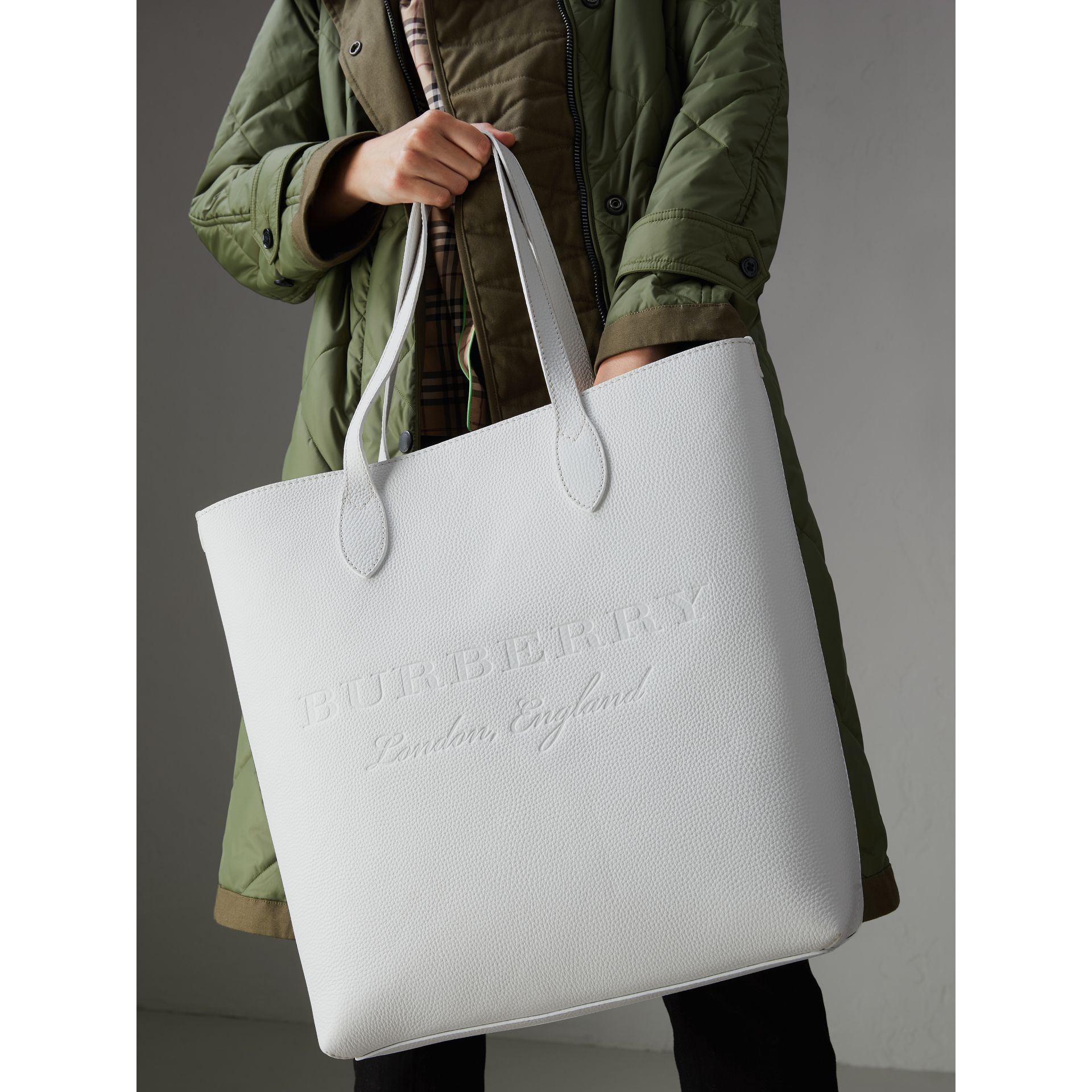 Medium Embossed Leather Tote in Chalk White | Burberry Singapore - gallery image 3