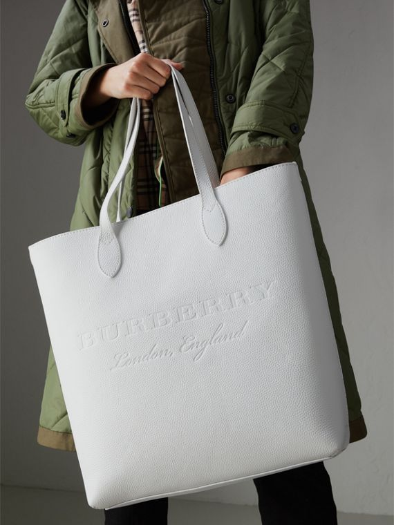 Medium Embossed Leather Tote in Chalk White | Burberry Singapore - cell image 3