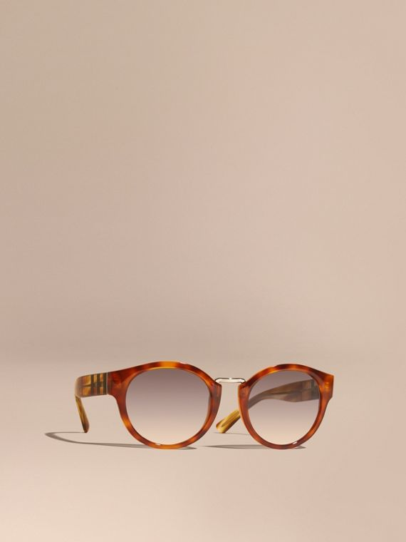 Check and Camouflage Detail Round Frame Sunglasses in Light Russet Brown