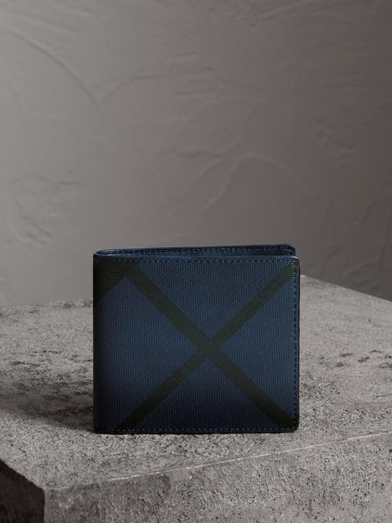 Faltbrieftasche aus London Check-Gewebe für alle Währungen (Marineblau/schwarz)
