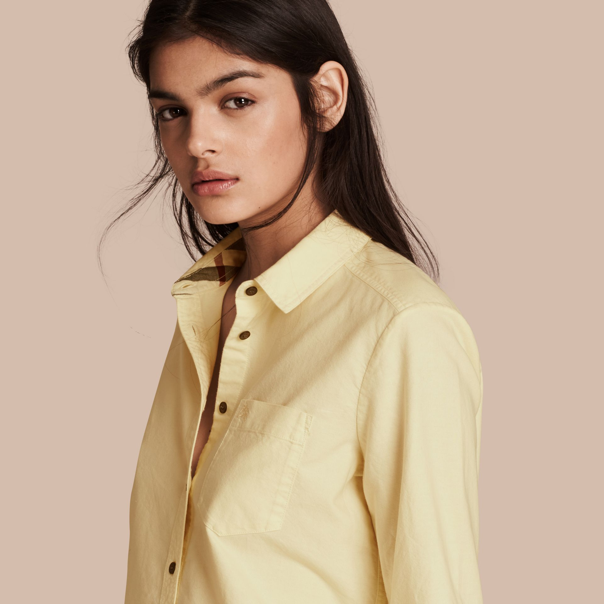 Pale yellow Check Detail Cotton Shirt Pale Yellow - gallery image 1
