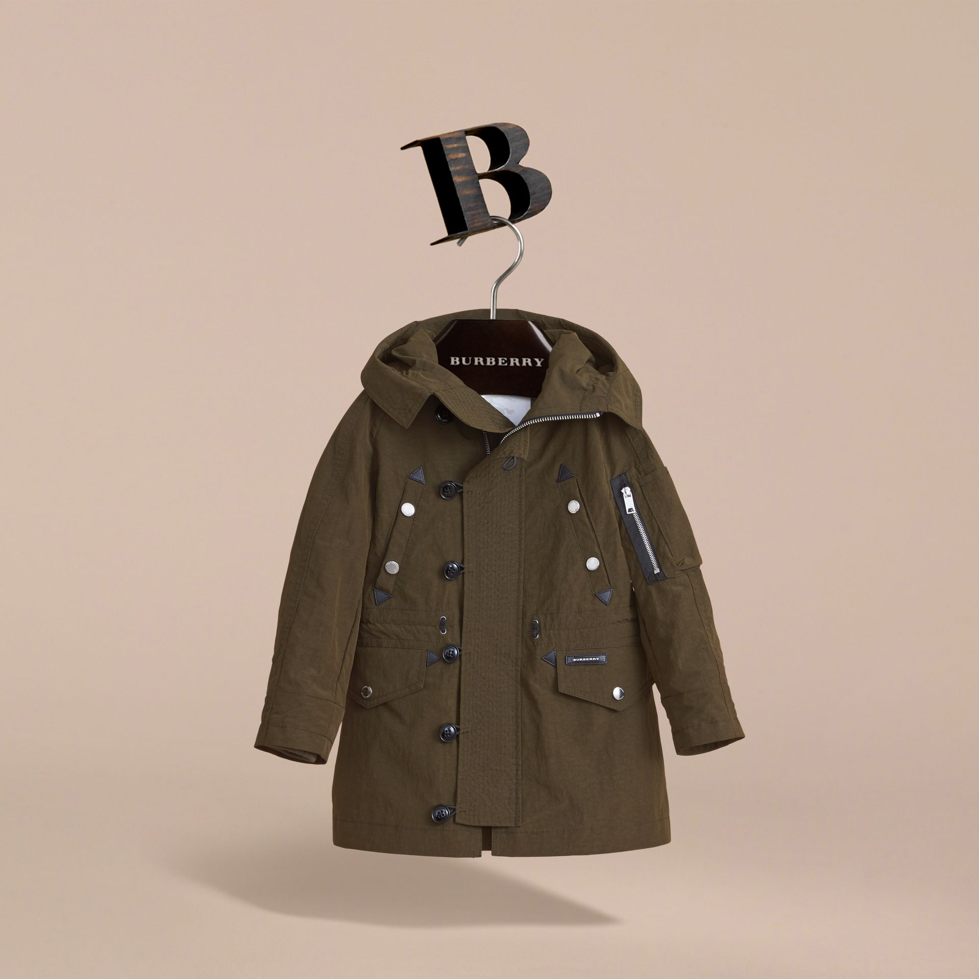 Leather Trim Hooded Utility Jacket in Dark Olive | Burberry - gallery image 3