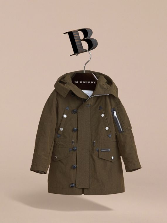 Leather Trim Hooded Utility Jacket in Dark Olive | Burberry - cell image 2