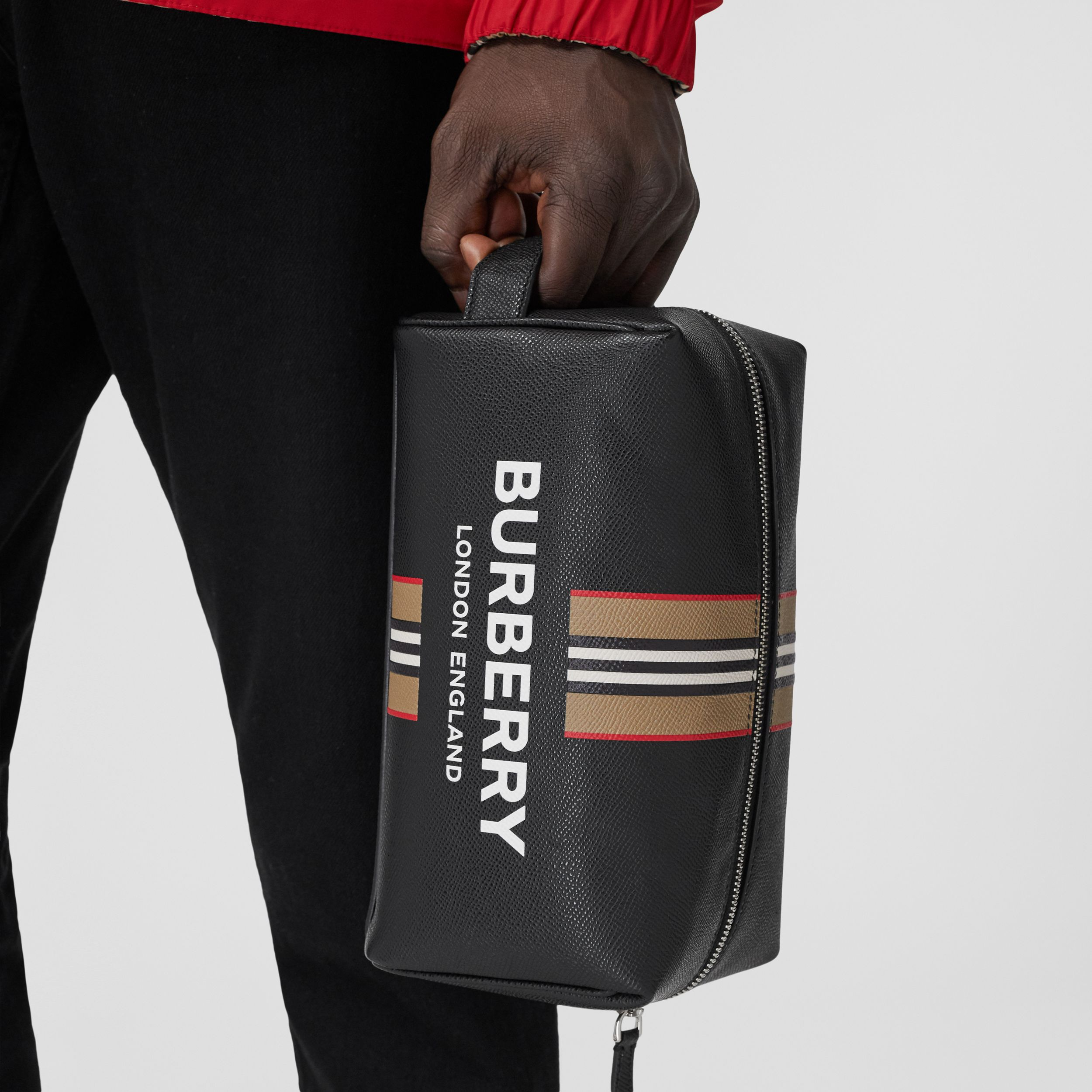 Logo and Icon Stripe Print Leather Travel Pouch in Black - Men | Burberry - 3