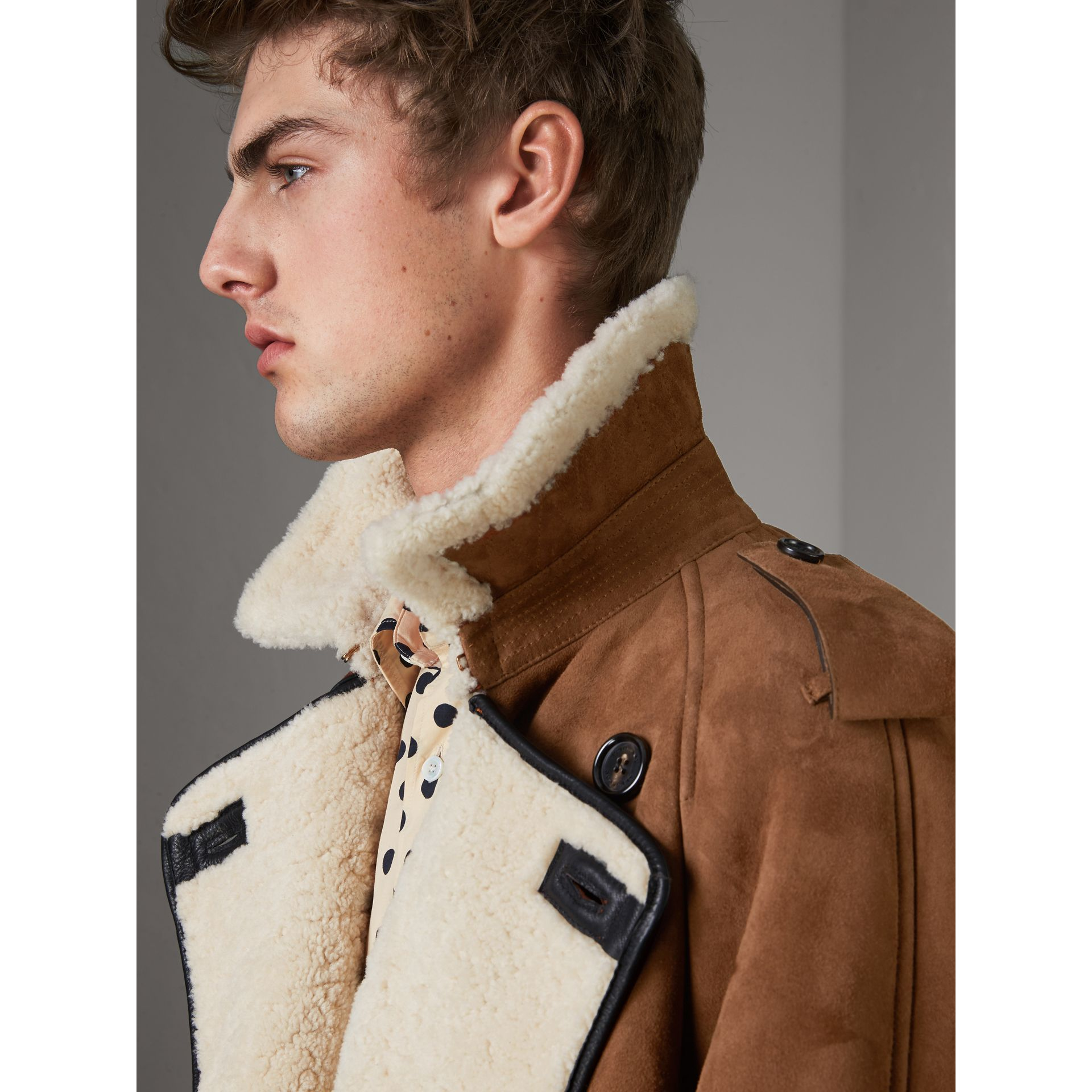 Suede and Shearling Trench Coat in Tan - Men | Burberry - gallery image 1