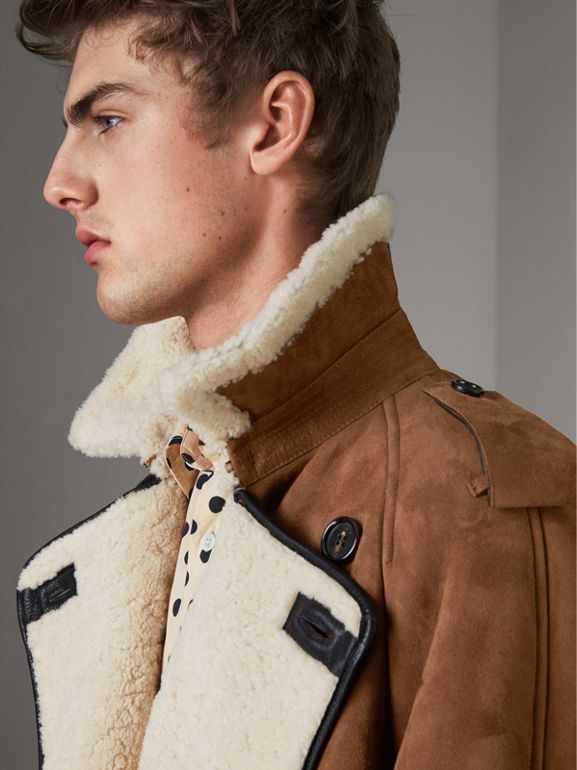 Suede and Shearling Trench Coat in Tan - Men | Burberry - cell image 1