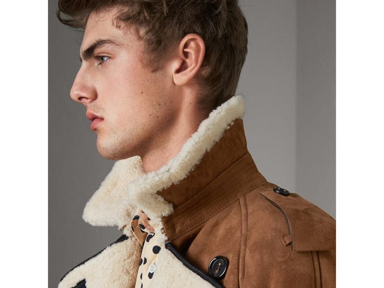 Suede and Shearling Trench Coat in Tan - Men | Burberry United States - cell image 1