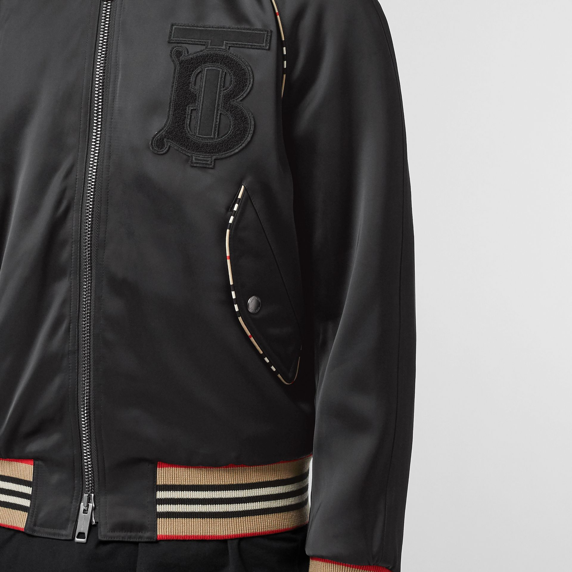 Icon Stripe Detail Monogram Motif Bomber Jacket in Black - Men | Burberry - gallery image 4