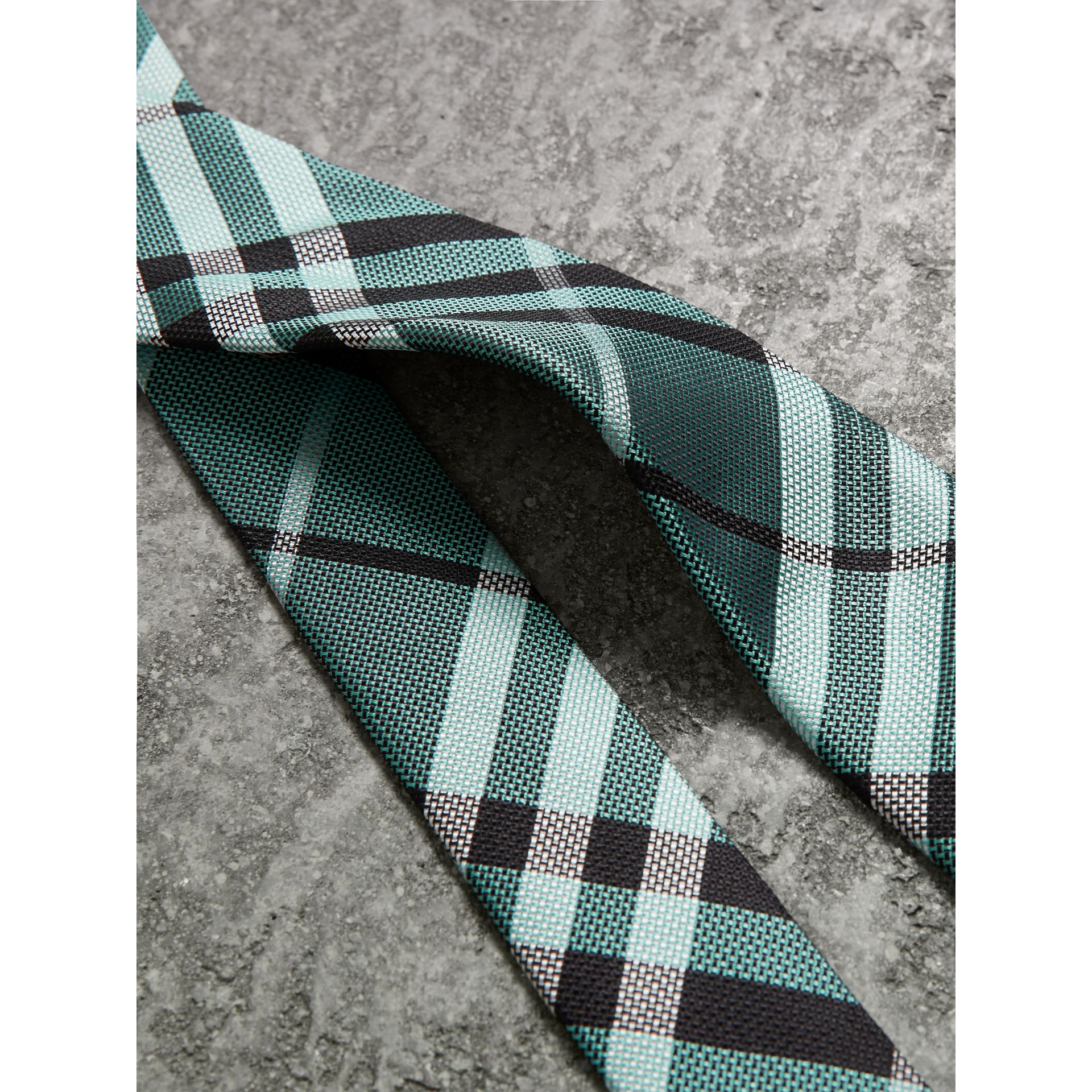 Modern Cut Check Silk Tie in Pale Turquoise - Men | Burberry United Kingdom - gallery image 1