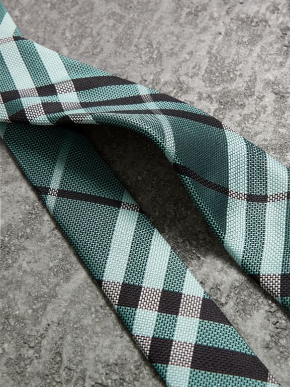 Modern Cut Check Silk Tie in Pale Turquoise - Men | Burberry - cell image 1