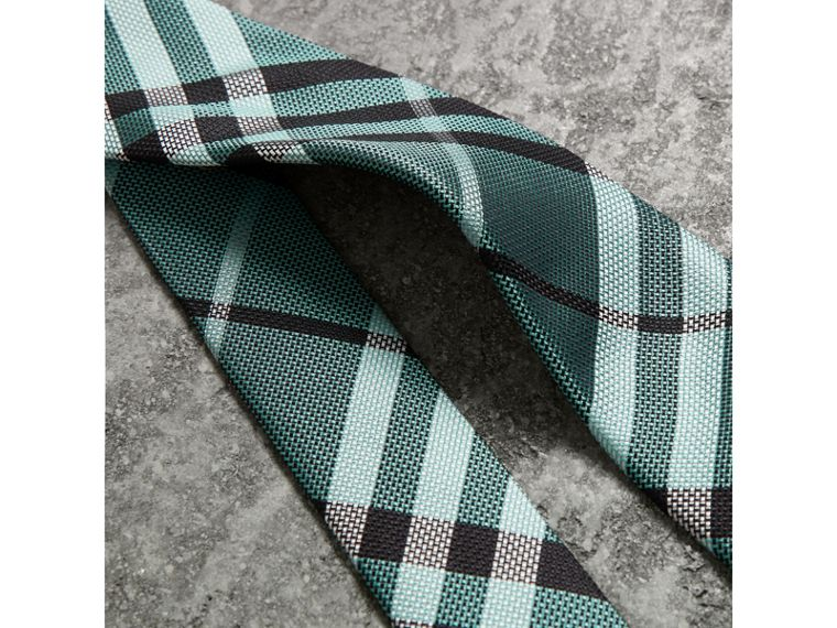 Modern Cut Check Silk Tie in Pale Turquoise - Men | Burberry United Kingdom - cell image 1