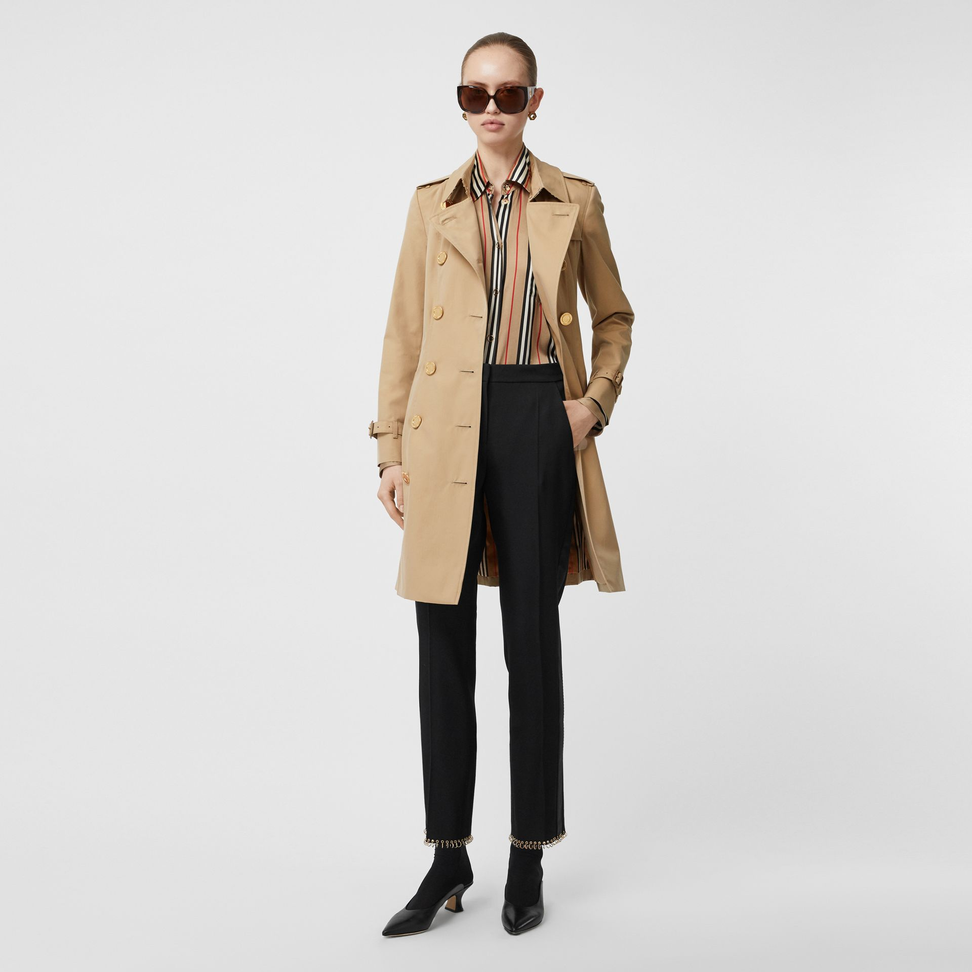 Button Detail Cotton Gabardine Trench Coat in Honey - Women | Burberry - gallery image 0