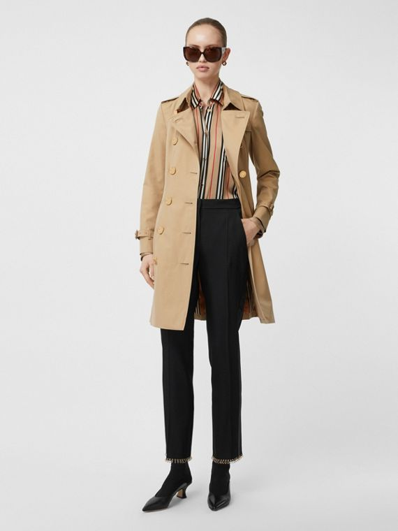 Button Detail Cotton Gabardine Trench Coat in Honey
