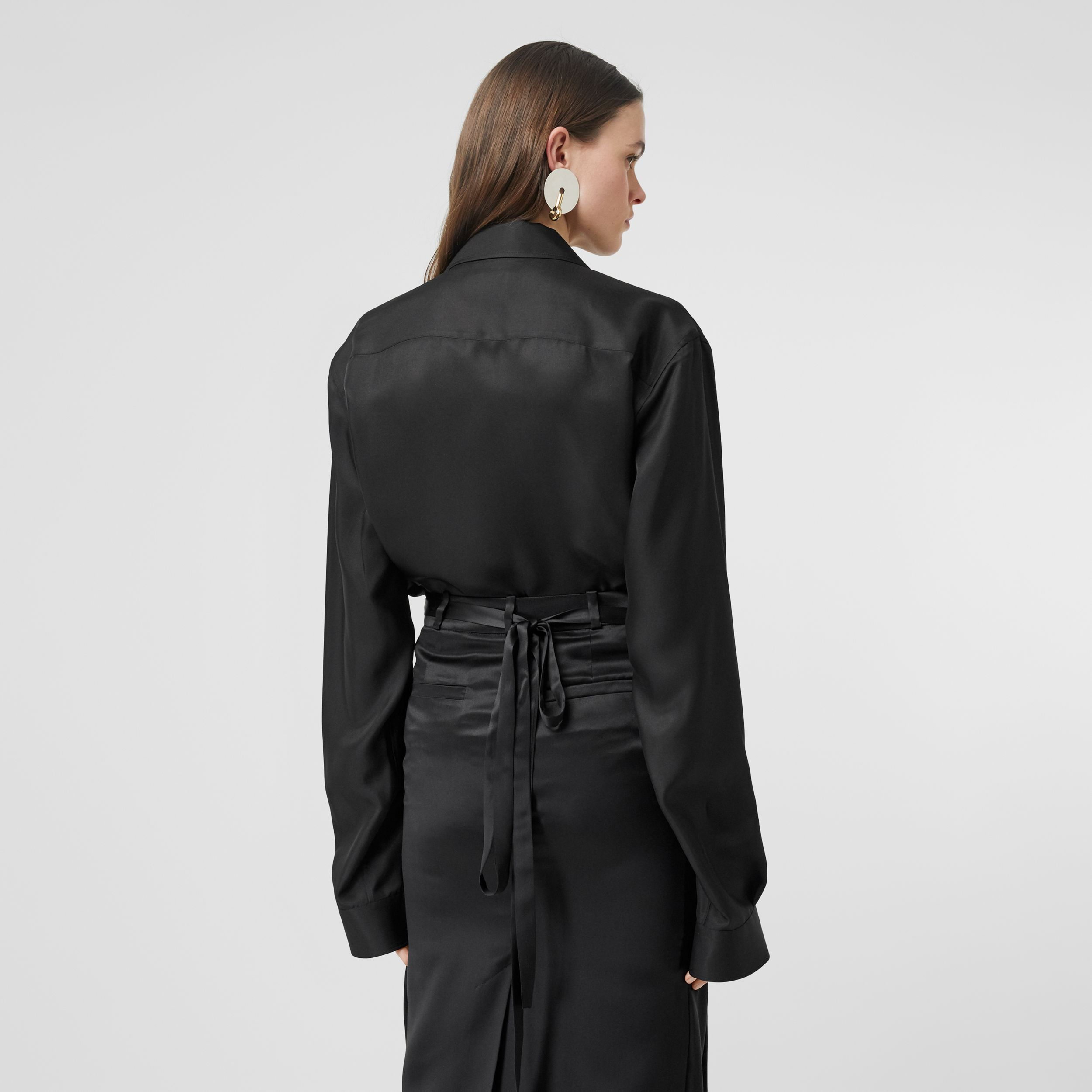 Logo Appliqué Silk Satin Loop-back Shirt in Black - Women | Burberry - 3