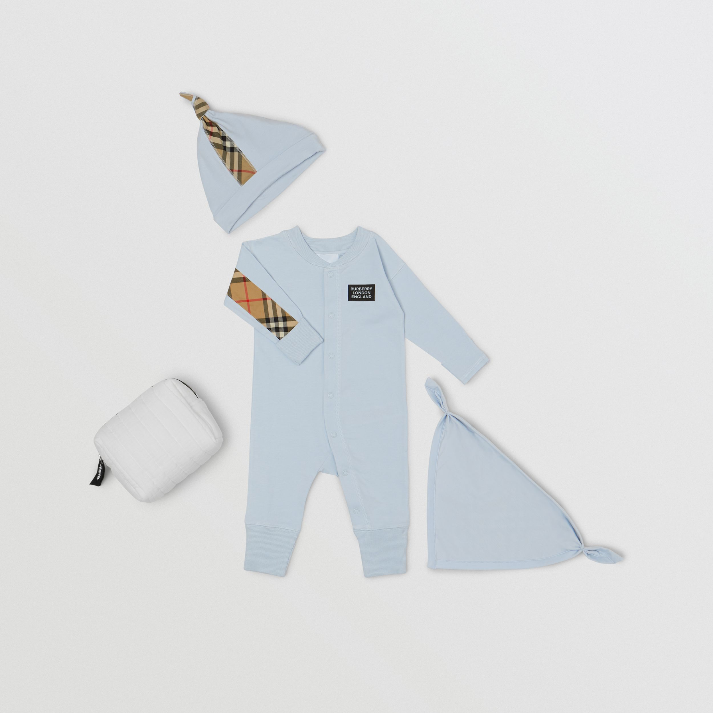 Check Trim Organic Cotton Three-piece Baby Gift Set - Children | Burberry - 1