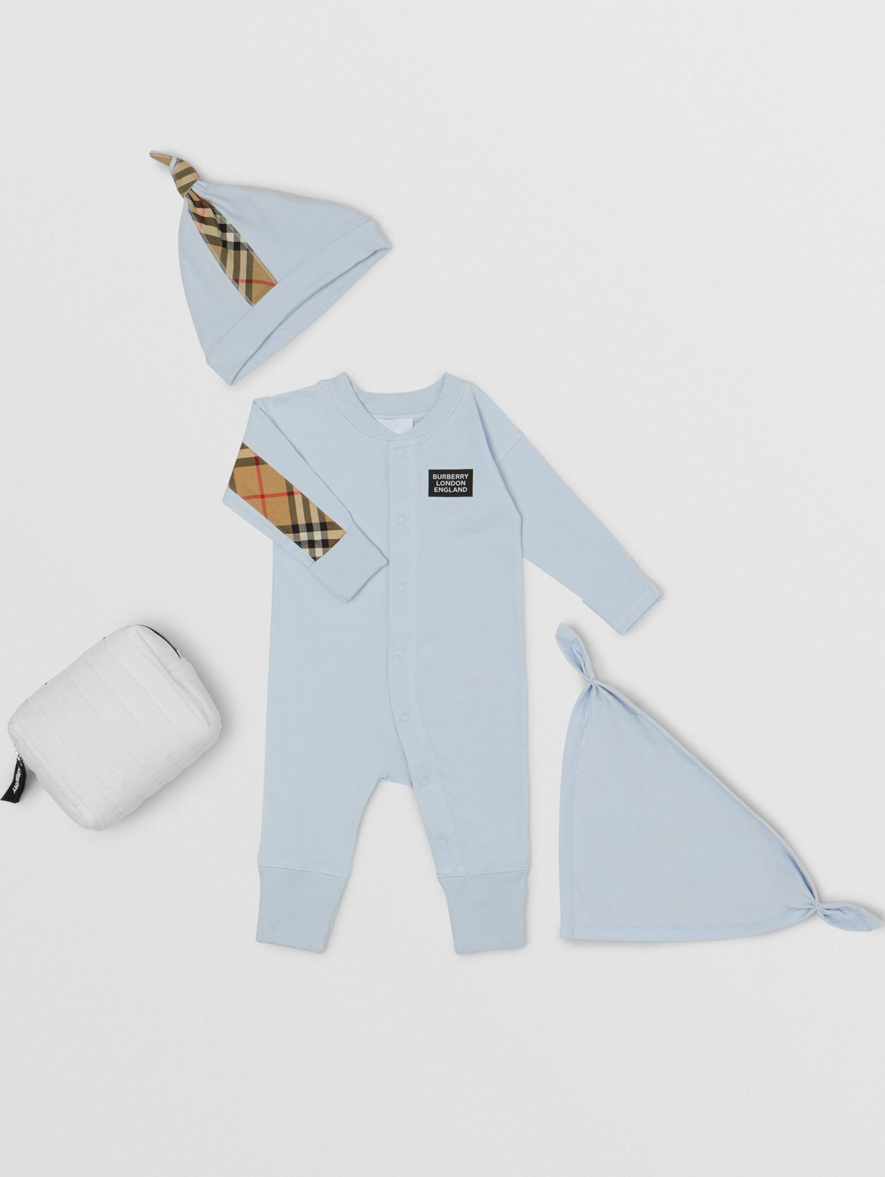 Check Trim Cotton Three-piece Baby Gift Set in Ice Blue