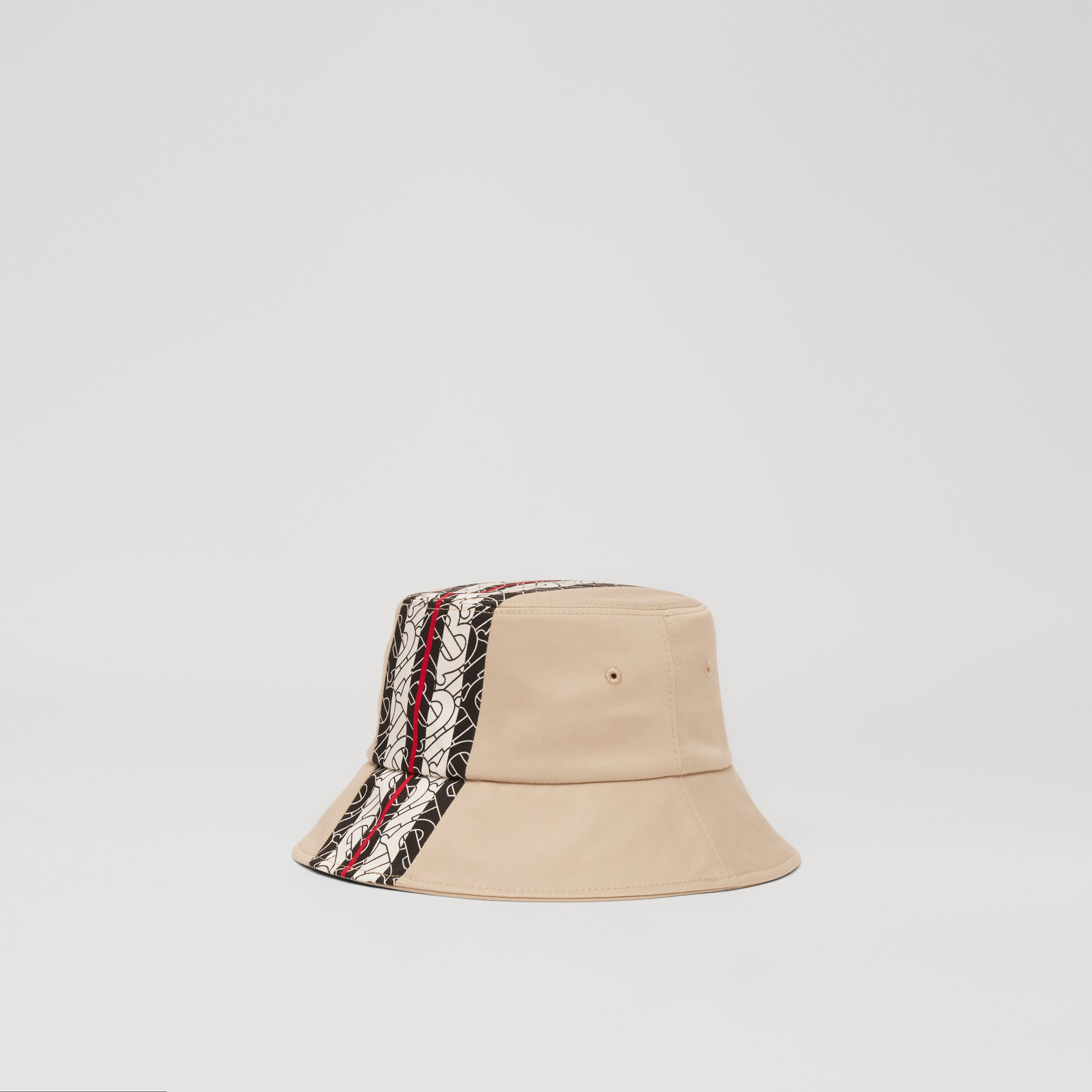Monogram Stripe Print Cotton Bucket Hat in Stone - Children | Burberry - 3