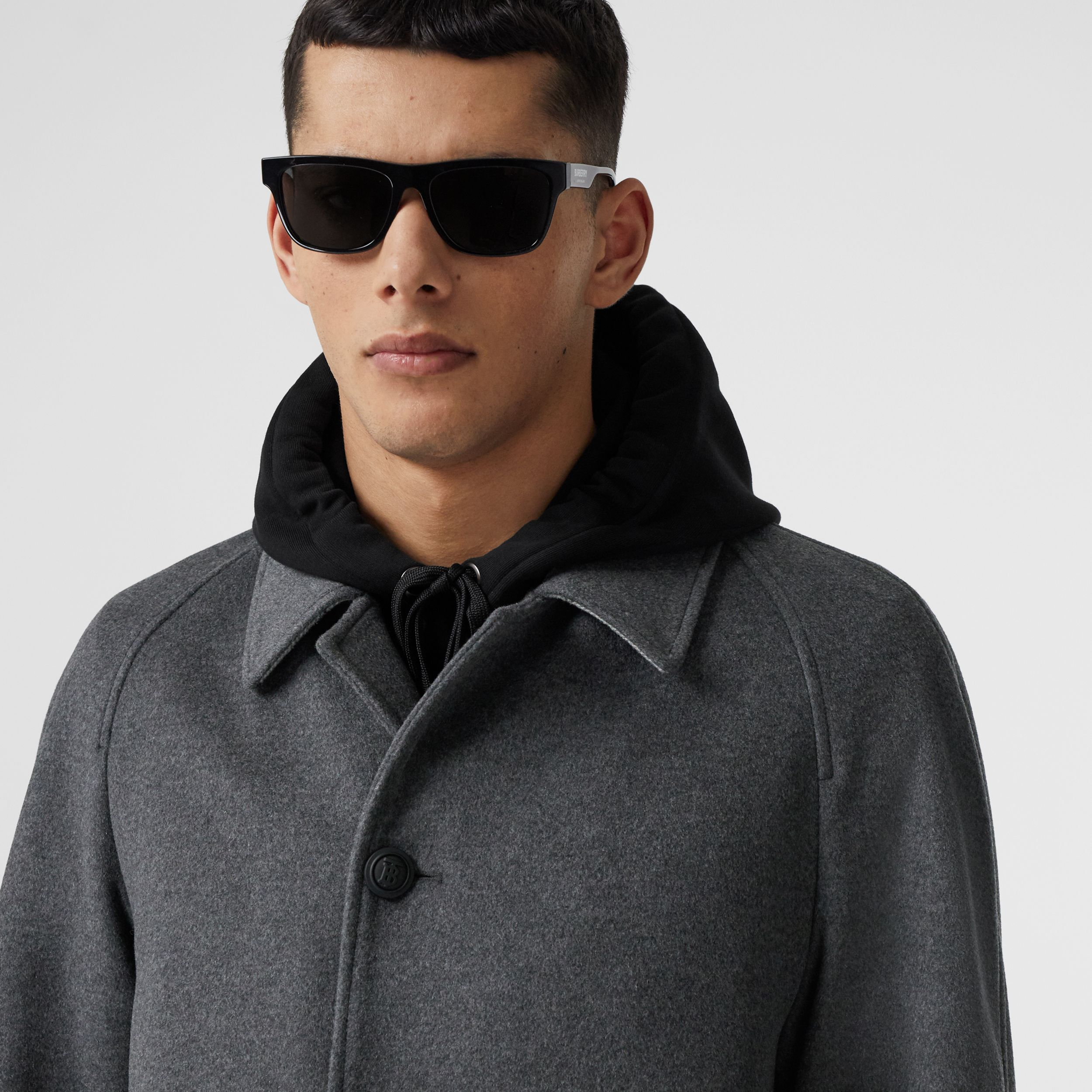 Button Detail Wool Cashmere Car Coat in Charcoal Melange - Men | Burberry - 2