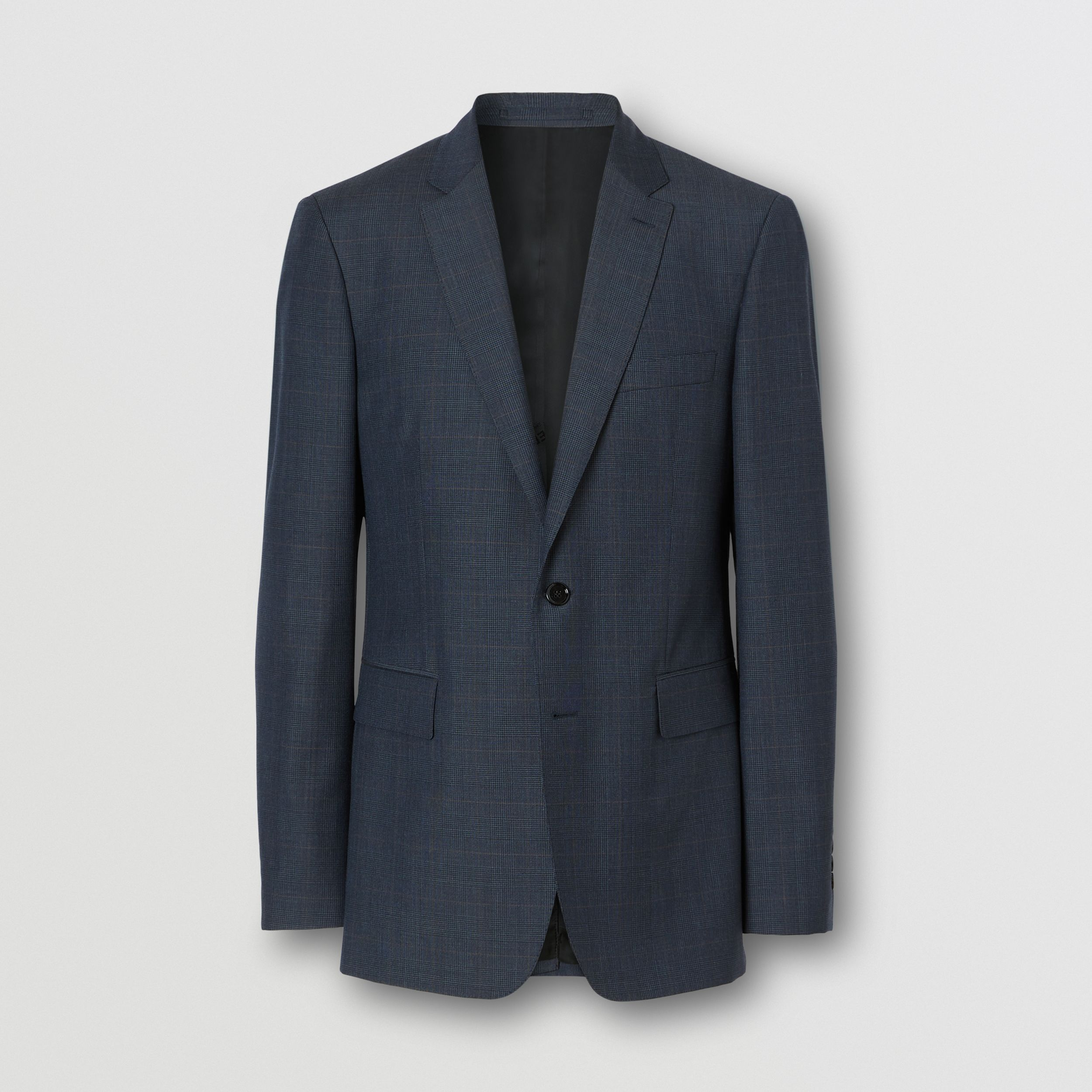 Slim Fit Prince of Wales Check Wool Suit in Carbon Blue - Men | Burberry - 4