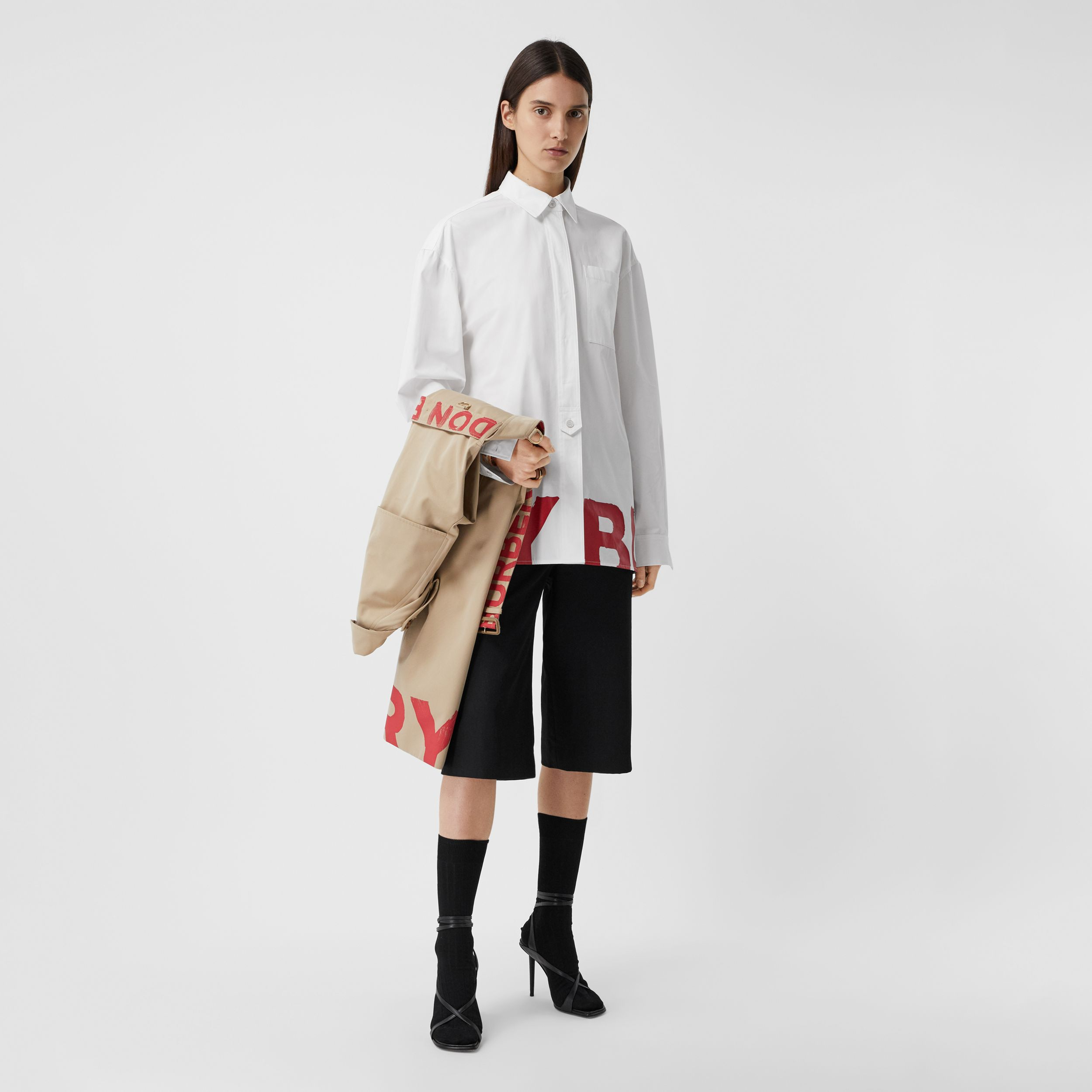 Logo Print Cotton Oversized Shirt in White - Women | Burberry - 1