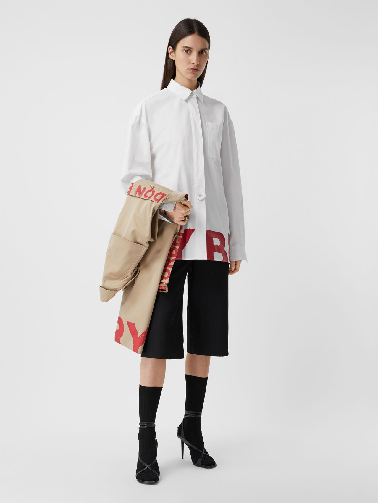 Logo Print Cotton Oversized Shirt in White