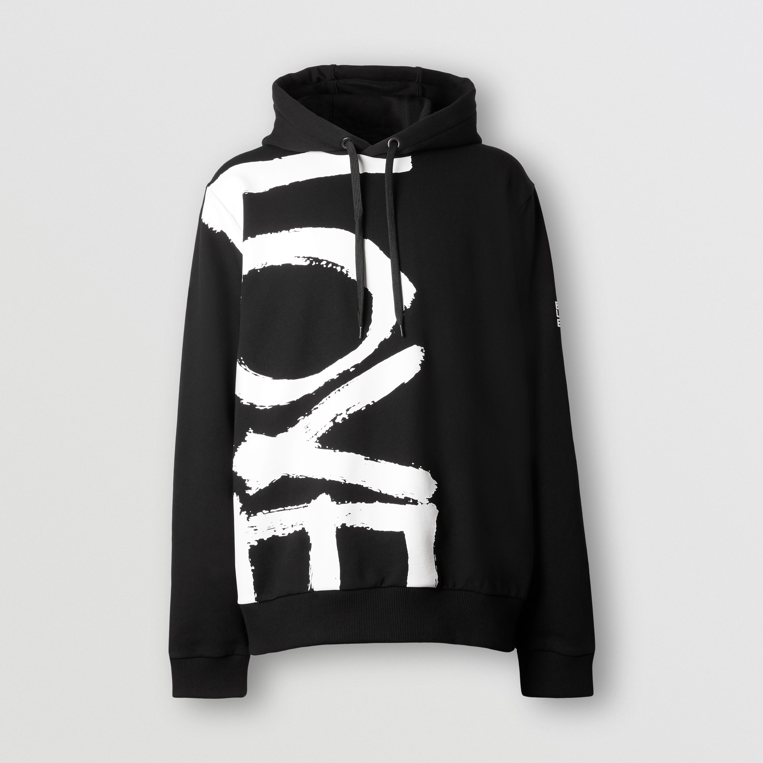 Love Print Cotton Hoodie in Black - Men | Burberry Singapore - 4