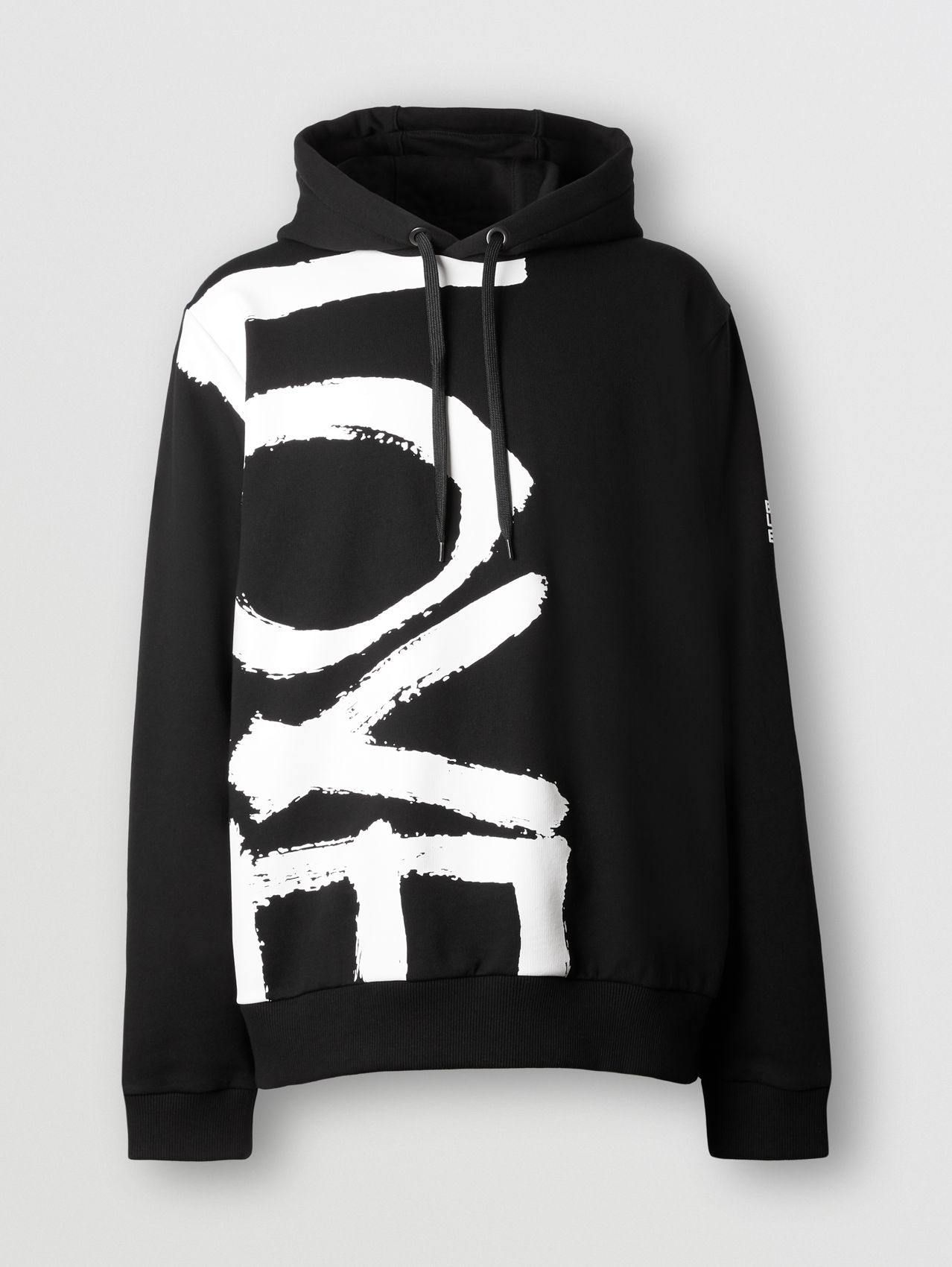 Love Print Cotton Hoodie in Black