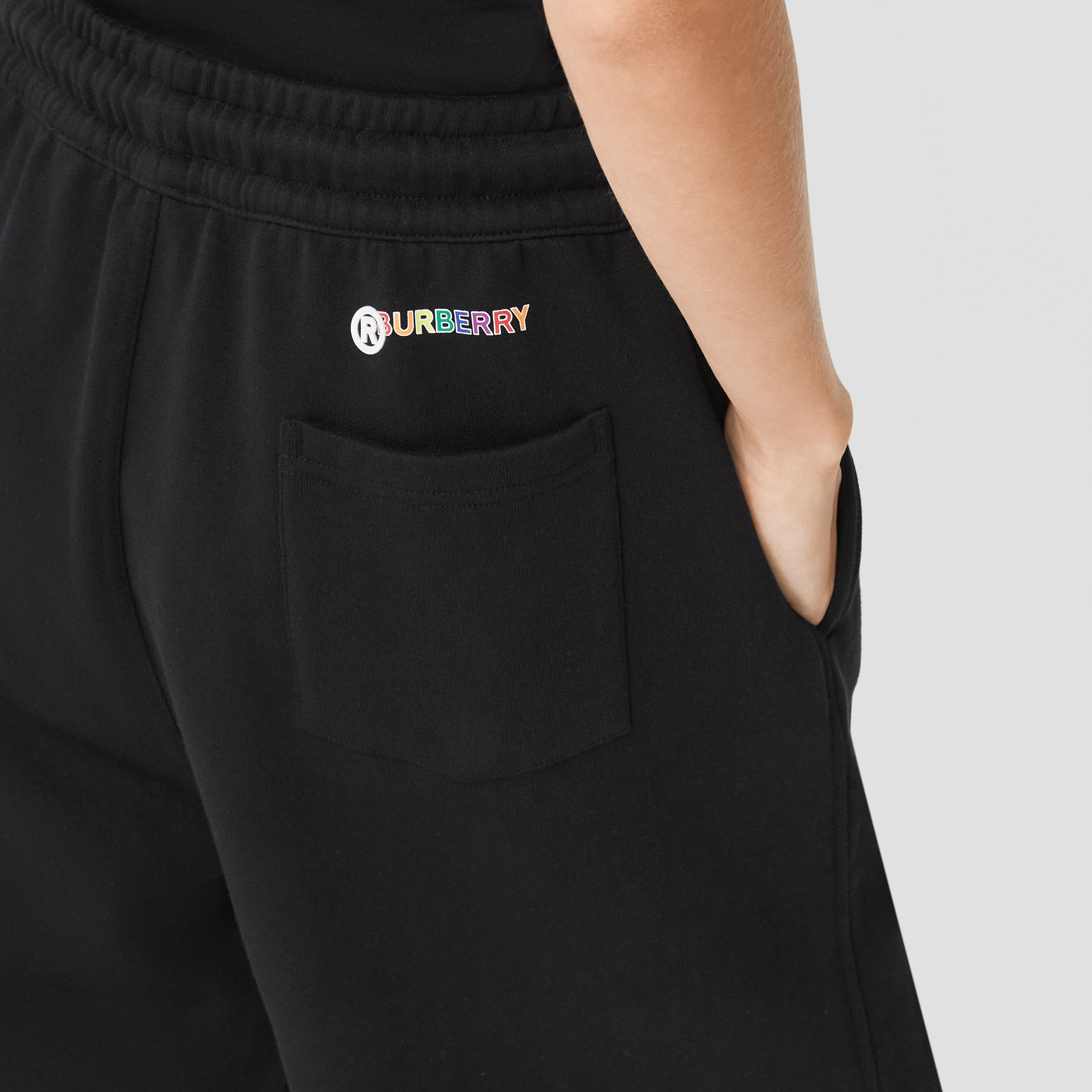 Rainbow Appliqué Cotton Drawcord Shorts – Unisex in Black | Burberry United Kingdom - 2