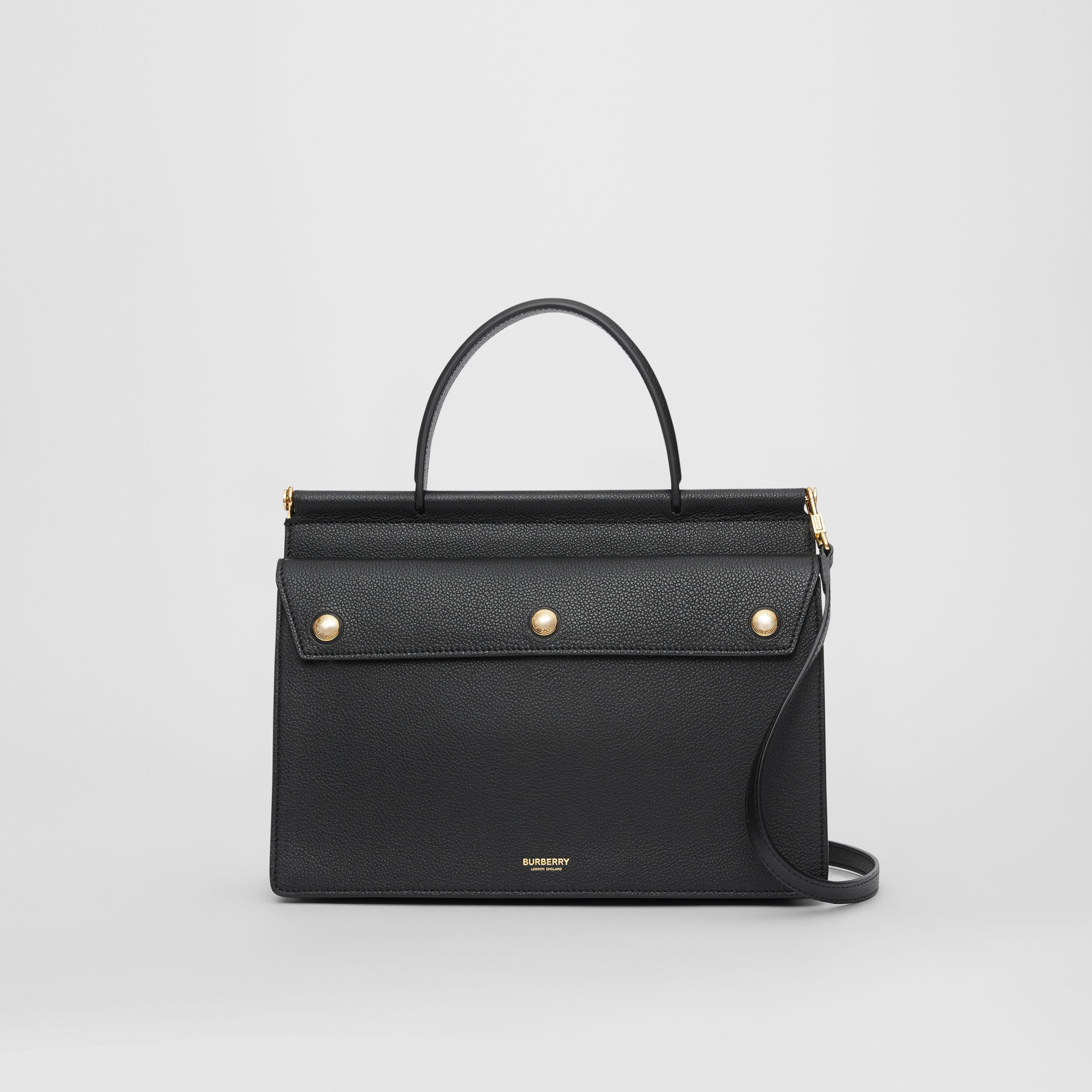 Small Leather Title Bag with Pocket Detail in Black - Women | Burberry - 1