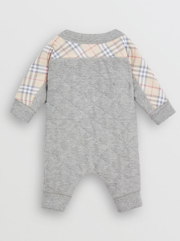 Check Detail Cotton Diamond Quilted Jumpsuit in Grey Melange - Children | Burberry - cell image 3