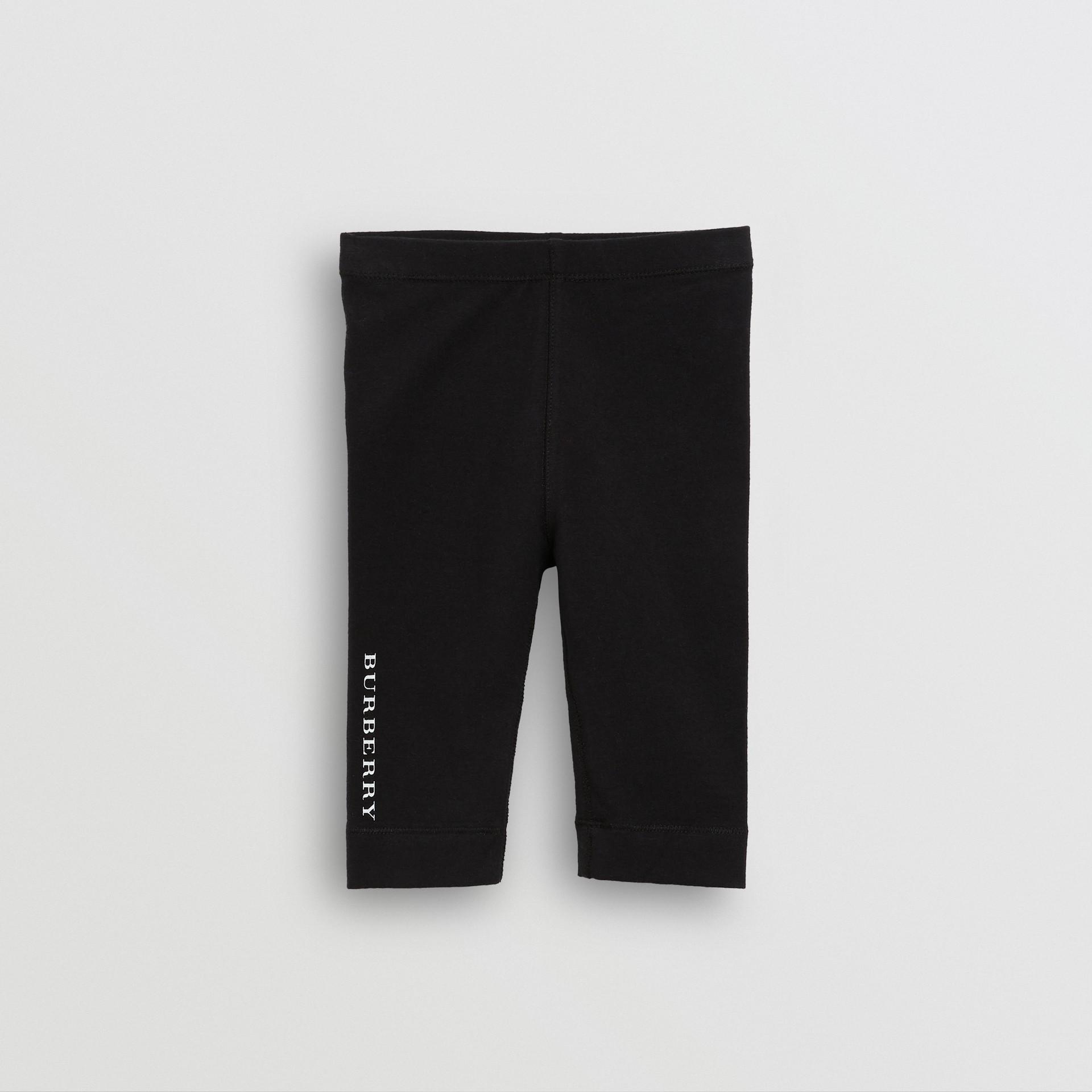 Logo Detail Stretch Cotton Leggings in Black - Children | Burberry - gallery image 0