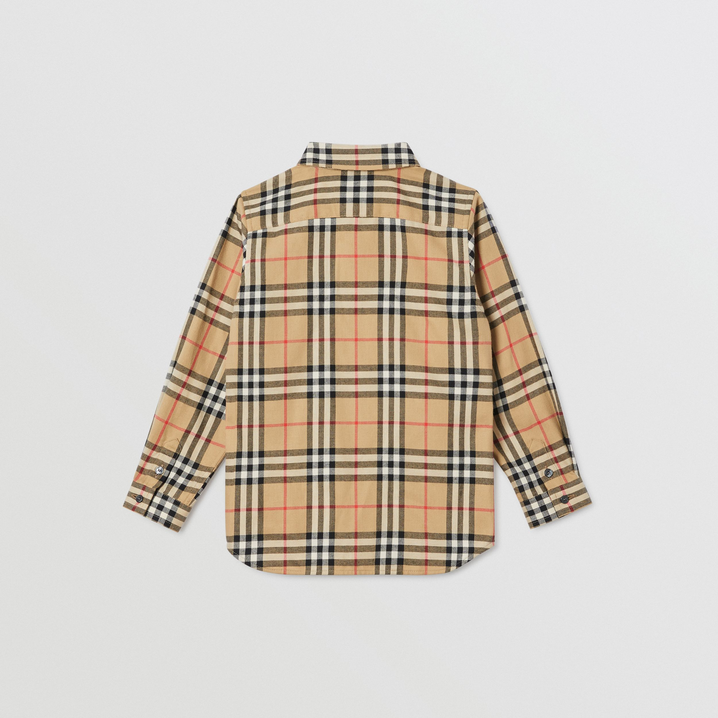 Vintage Check Cotton Flannel Shirt in Archive Beige | Burberry - 4