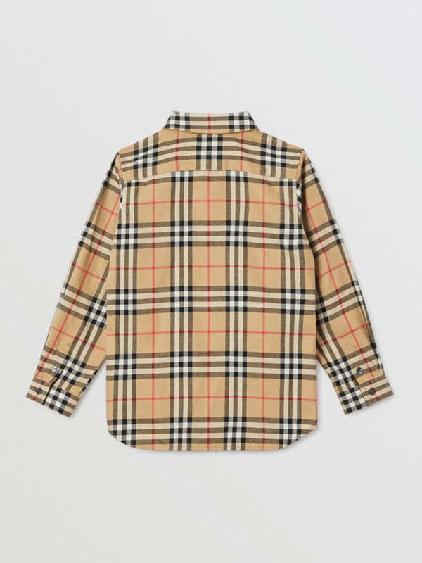 Vintage Check Cotton Flannel Shirt in Archive Beige | Burberry Australia - cell image 3
